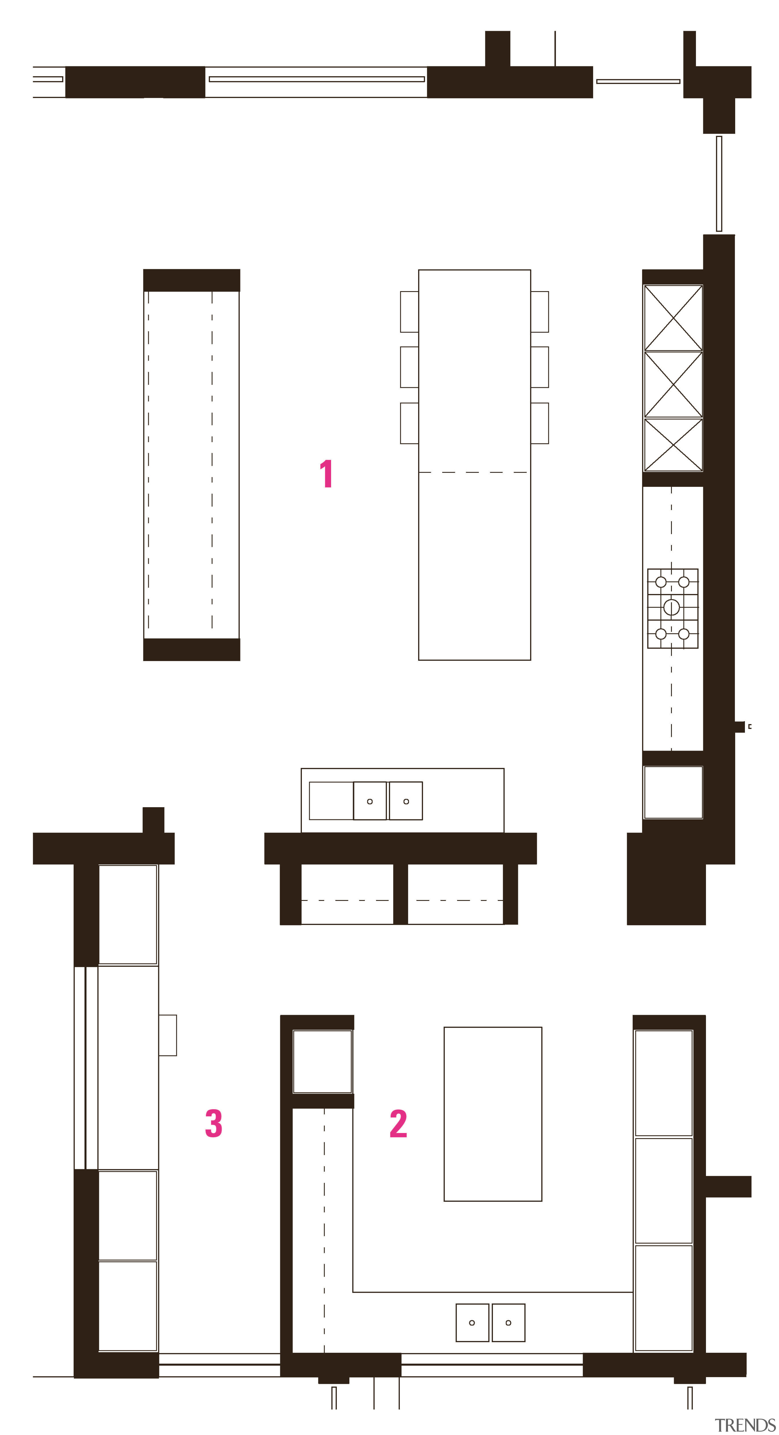 Plan of substantial kitchen by BE Architecture: 1 area, design, diagram, drawing, floor plan, font, furniture, line, product design, structure, white