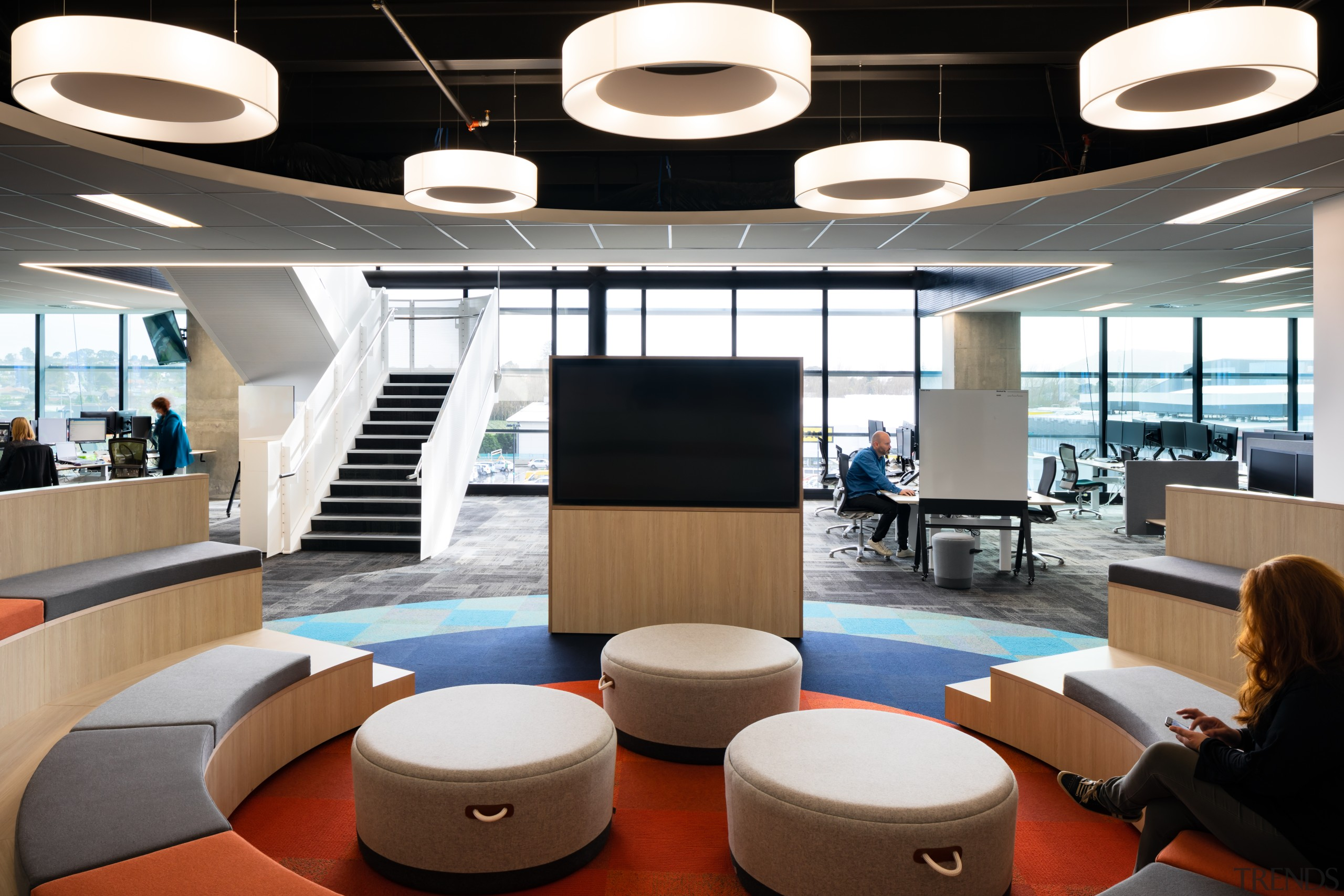 Well-rounded – the IAG Hub at No 1. architecture, building, ceiling fixture, design, floor, furniture, interior design, lamp, light fixture, lighting, lobby, office, IAG,  No 1 Sylvia Park