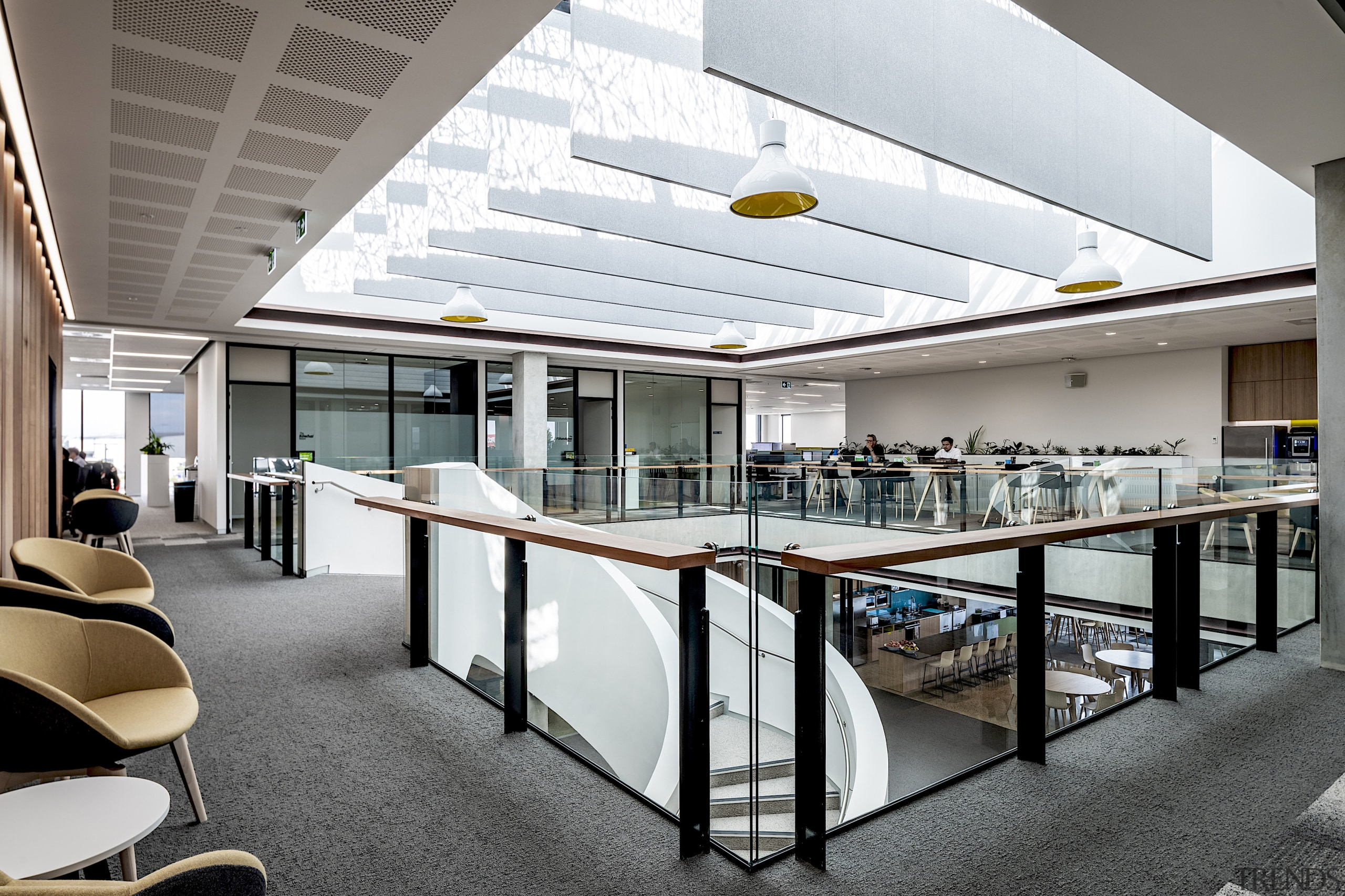 Upstairs meeting rooms also open onto the square