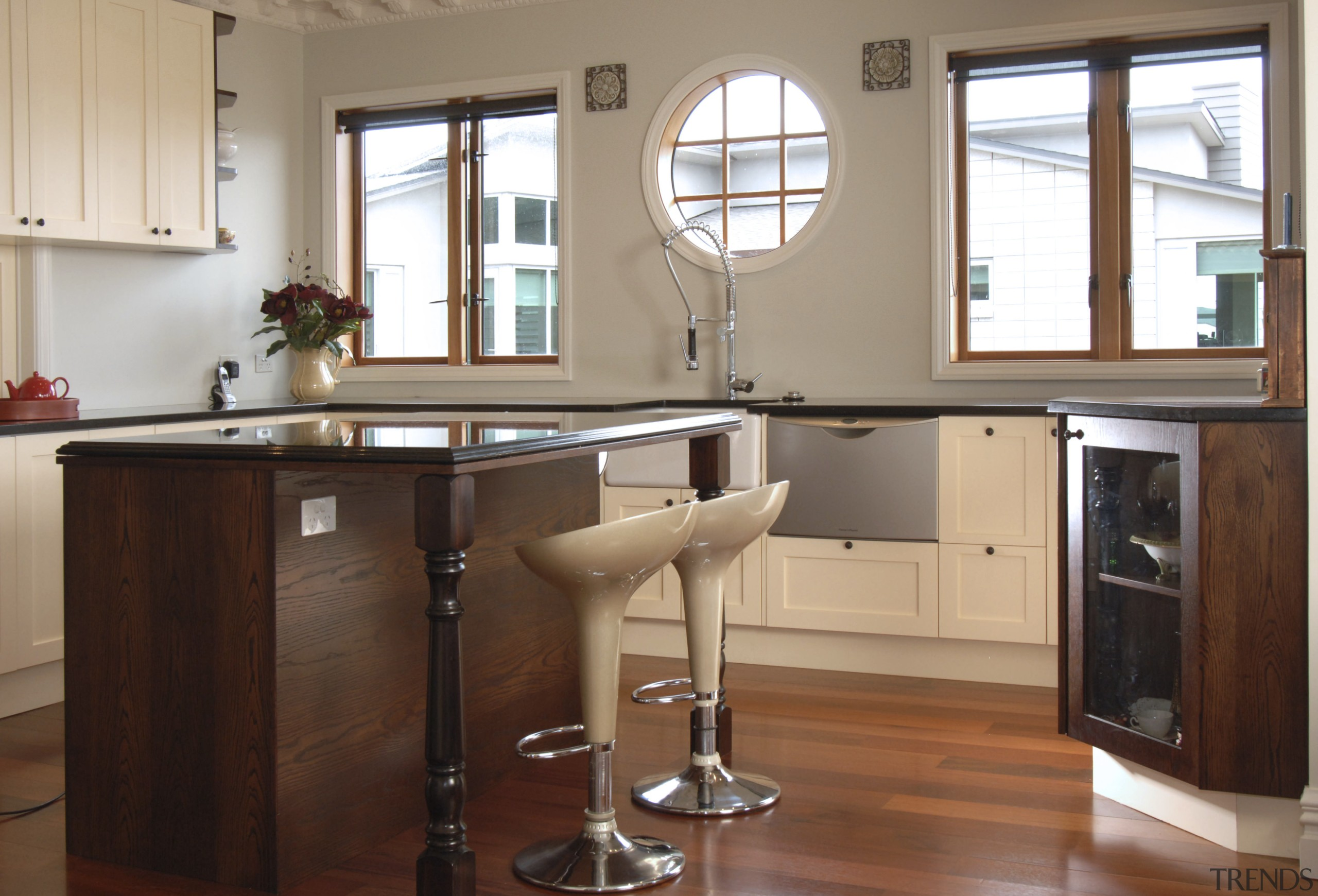 A view of a home designed by MF cabinetry, countertop, cuisine classique, furniture, hardwood, interior design, kitchen, table, wood, brown, white