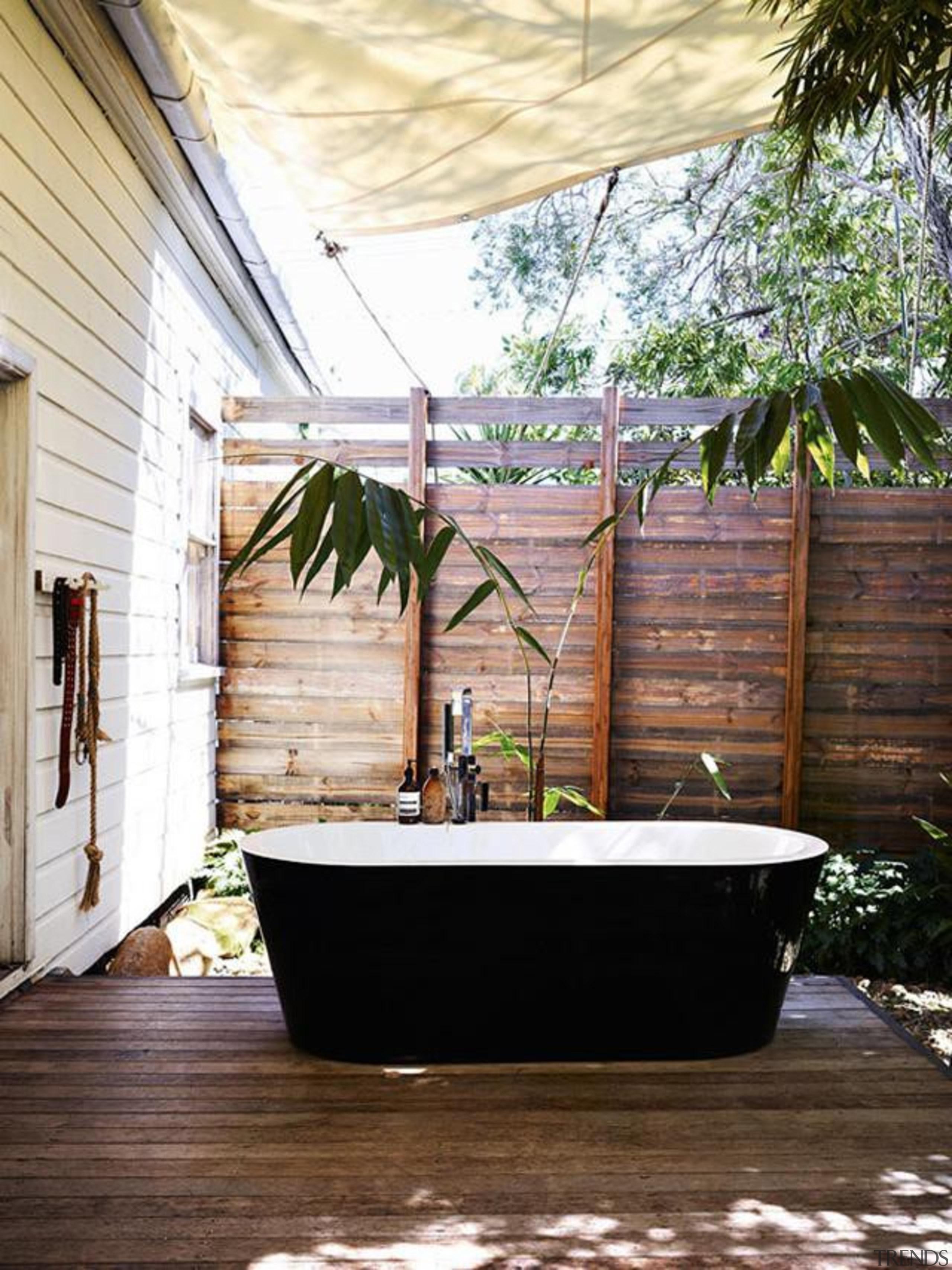 nothing like taking a bath in the nature arecales, home, house, interior design, outdoor structure, plant, tree, wood, white, brown