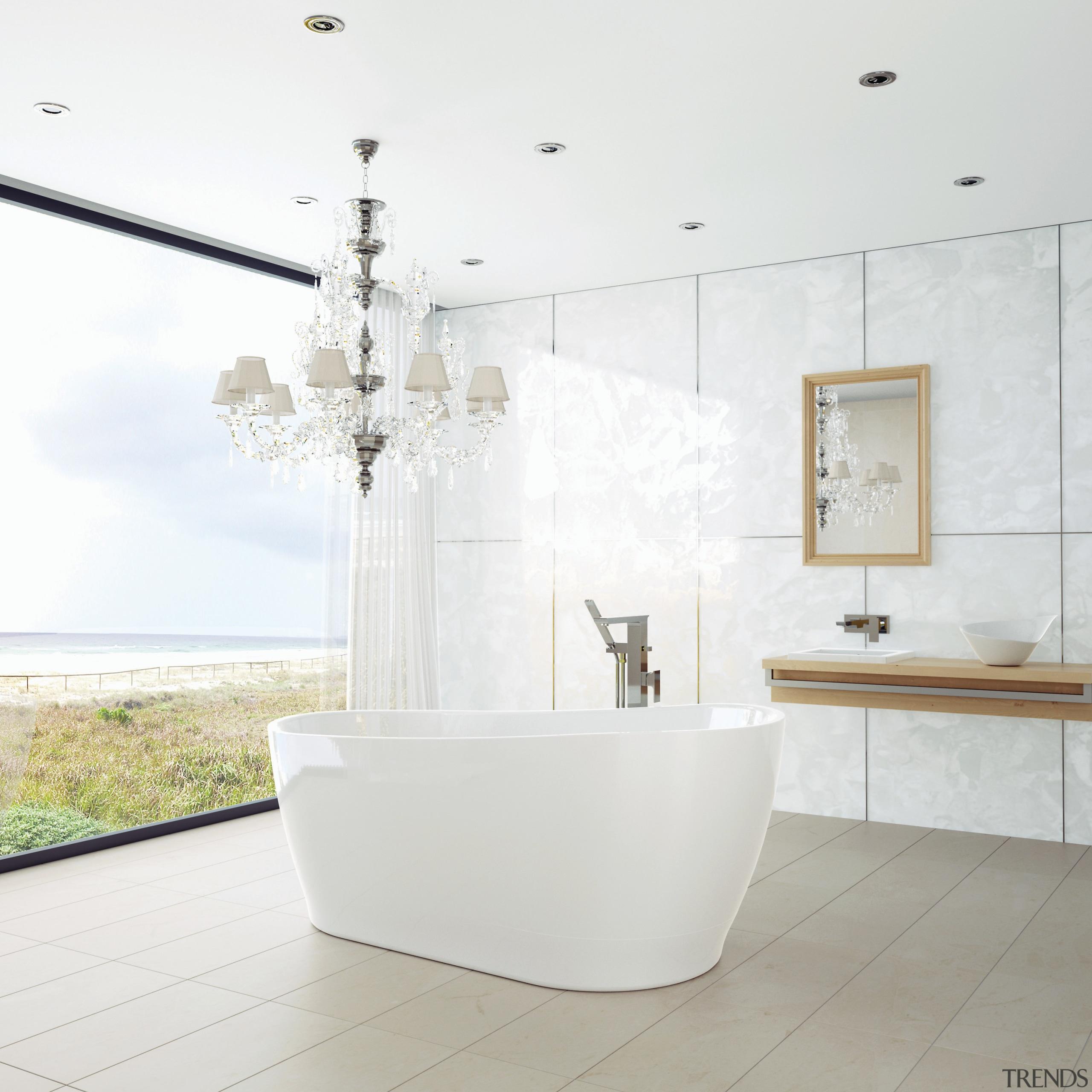 A Blanc bathtub by Caroma is the centrepiece bathroom, bathroom sink, ceramic, floor, interior design, plumbing fixture, product design, room, sink, tap, tile, white