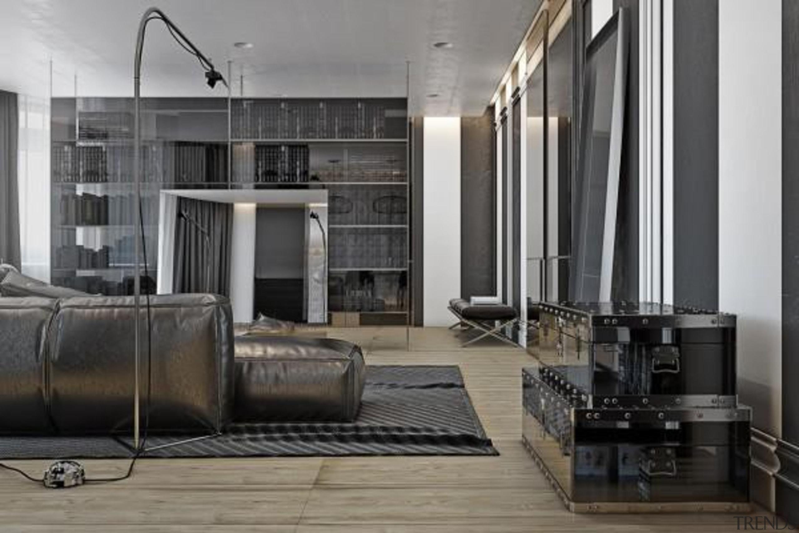 creative clear storage - Masculine Apartments - floor floor, flooring, furniture, interior design, living room, lobby, gray, black