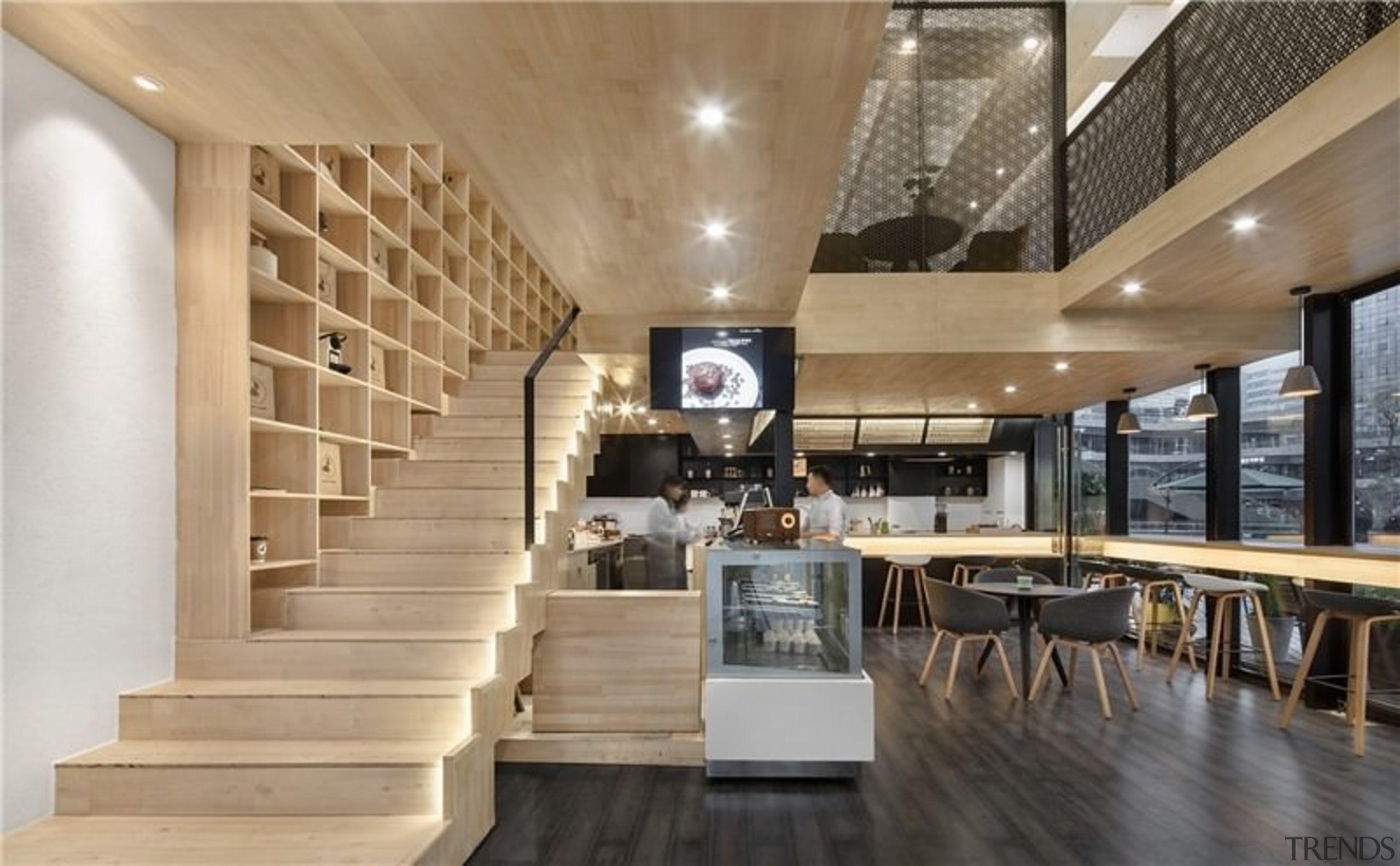 Recessed lighting runs along the stairway - Recessed ceiling, flooring, interior design, lobby, gray, brown