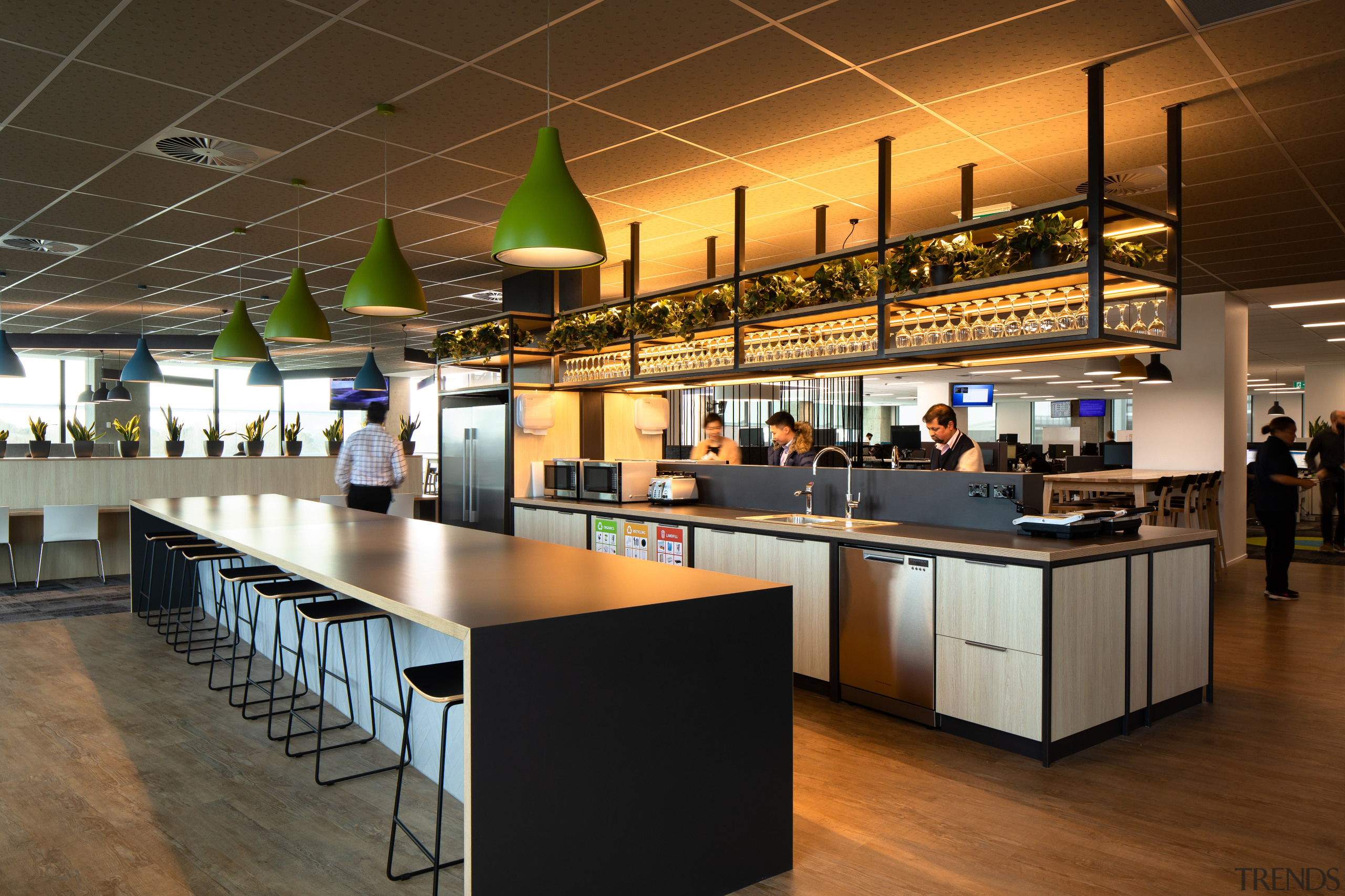 Stainless steel and wood veneer lends the staff architecture, bar stool, building, cafeteria, ceiling, design, floor, flooring, interior design, lighting, table, IAG call centre, No1 Sylvia park