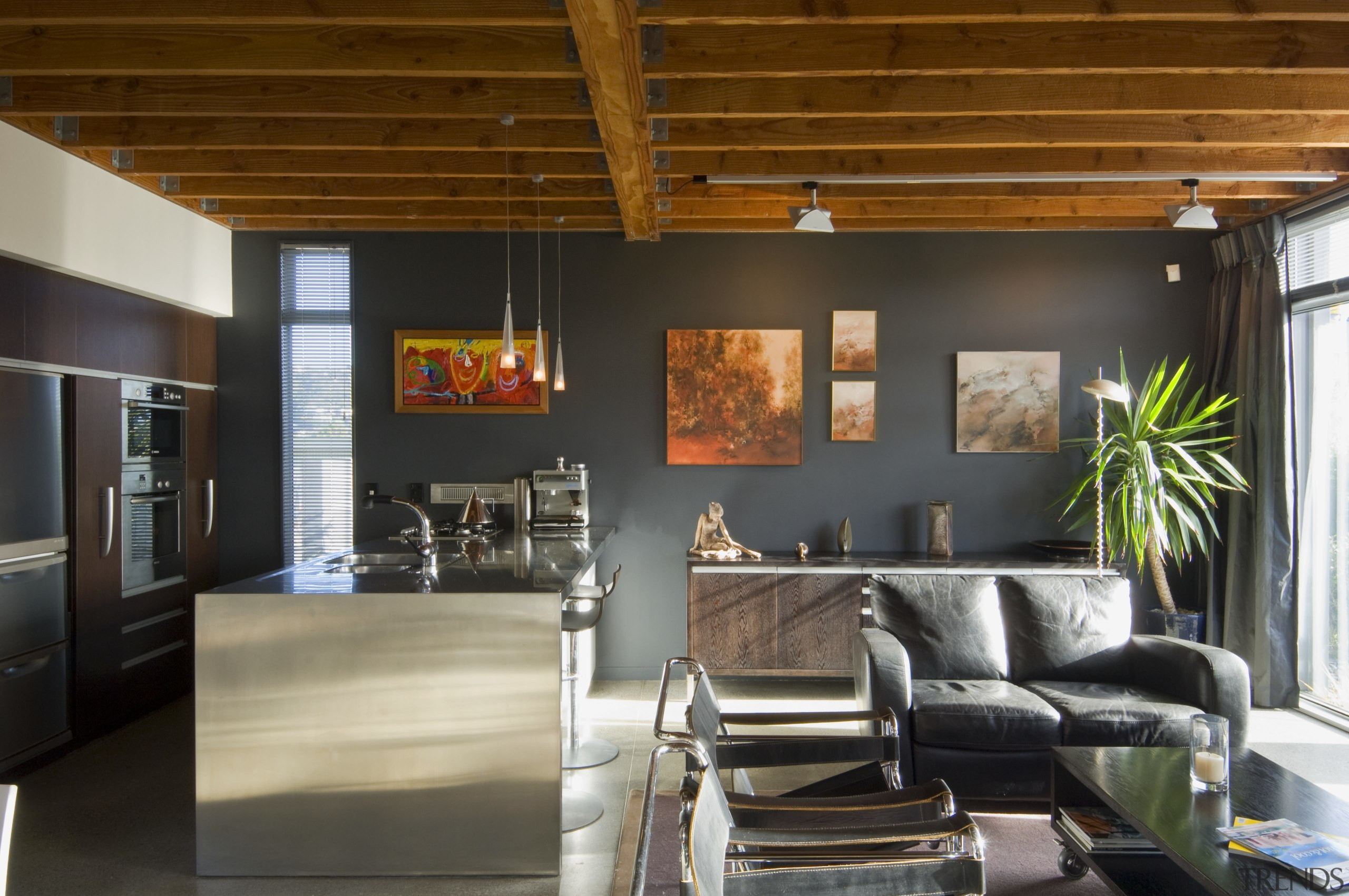 view of open-plan living and kitchen area with ceiling, house, interior design, living room, loft, black, brown