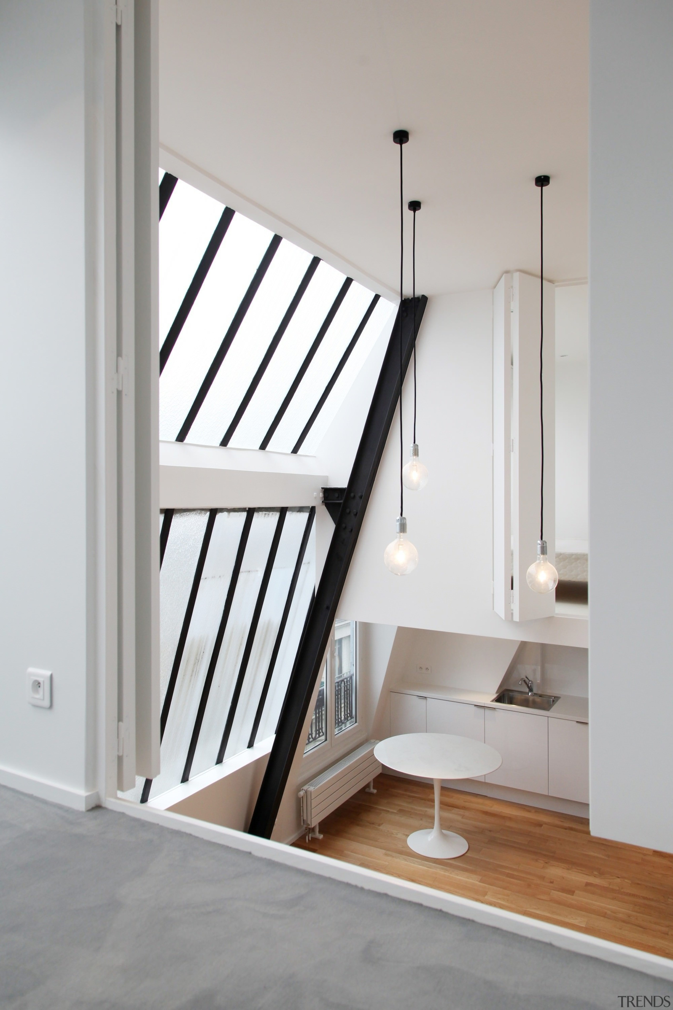 Architect: jbmn architectesPhotographer: Hermann Wendler architecture, bed, bed frame, daylighting, floor, furniture, handrail, home, house, interior design, product, stairs, window, wood, gray, white