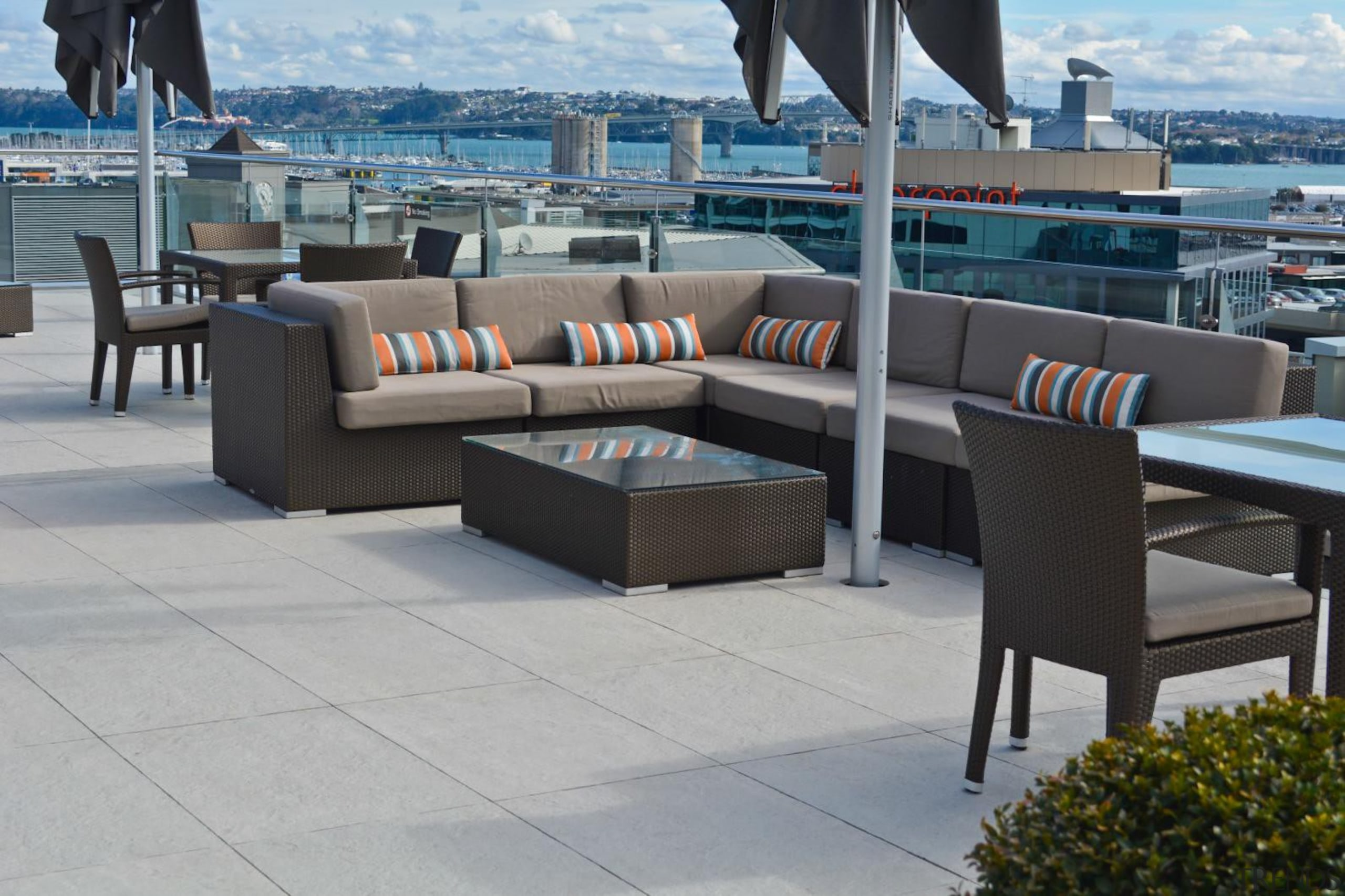 RAK Stone series outdoor tiles here in 600x900x20mm chair, furniture, table, gray