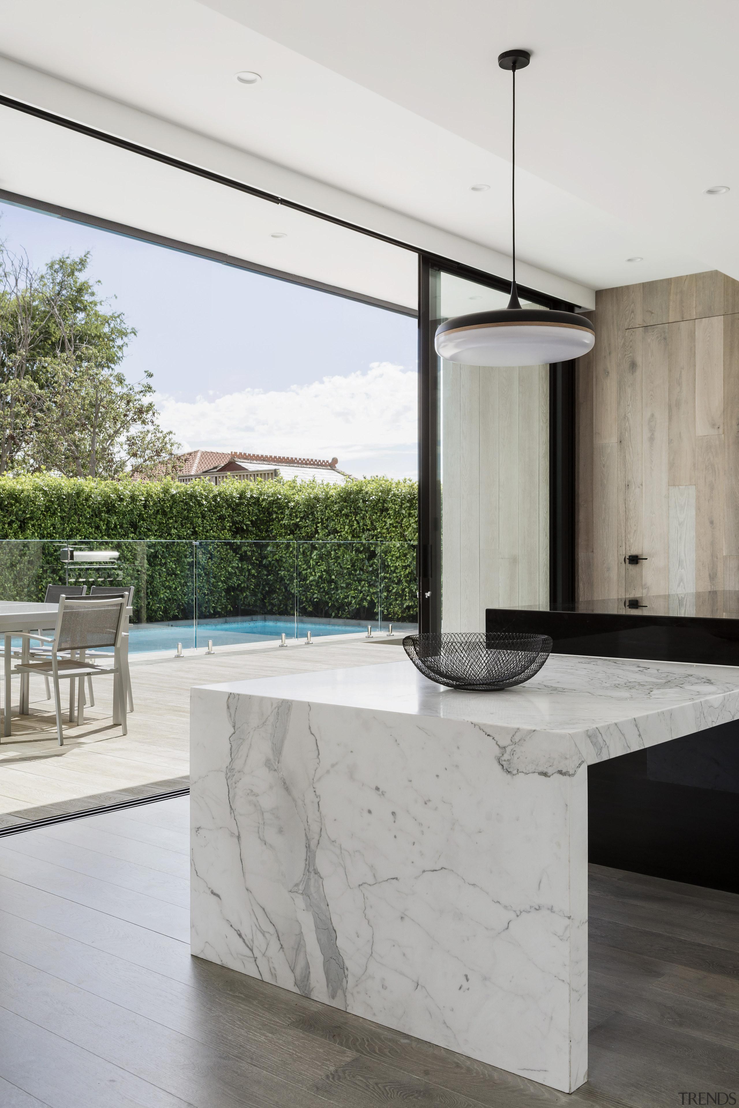 Dark granite for the main benchtop is matched architecture, countertop, benchtop, home, house, interior design, Island, Marble, indoor outdoor flow, LSA Architects