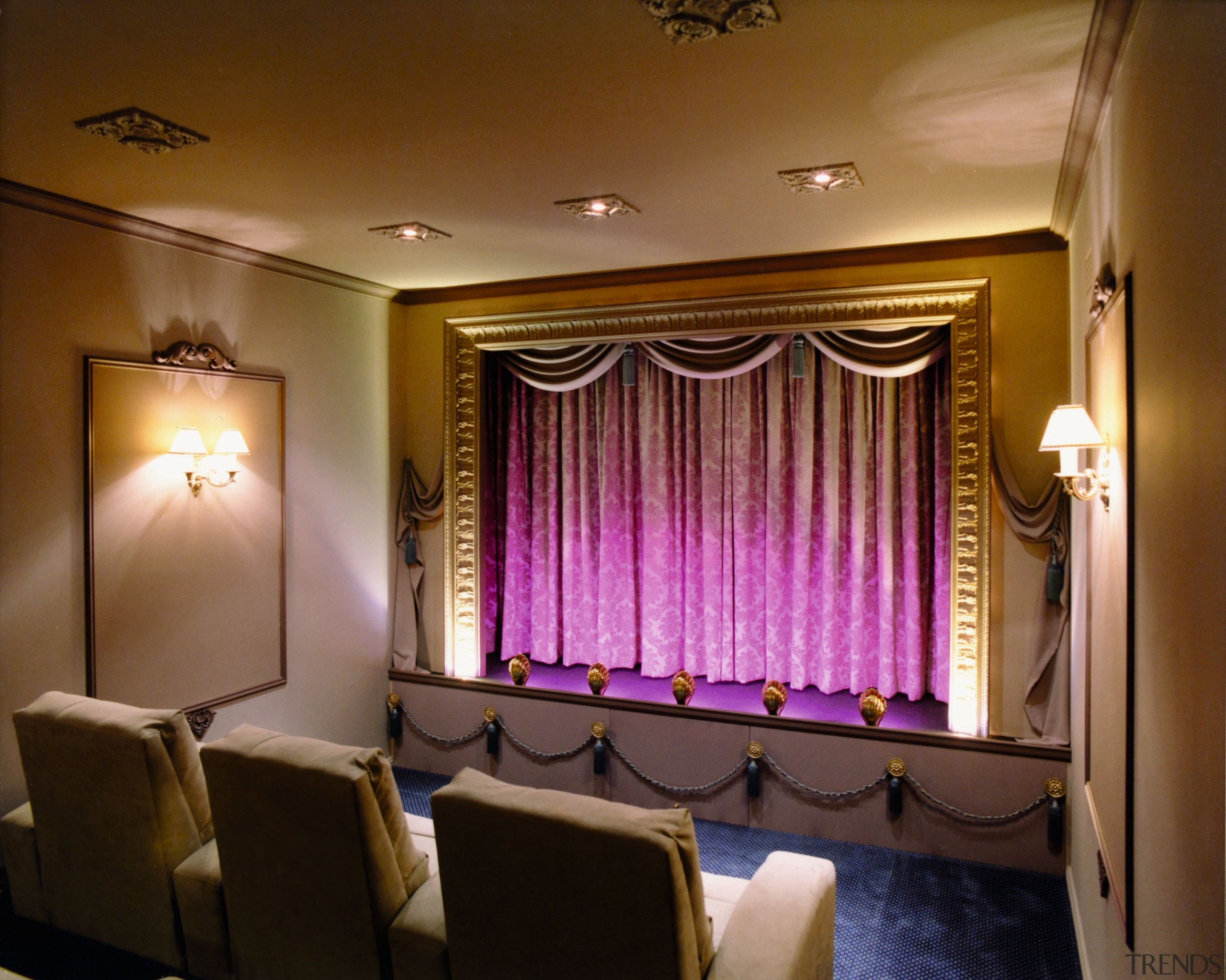 View of a home theatre, cream seats and auditorium, ceiling, curtain, function hall, interior design, light fixture, lighting, room, wall, window treatment, brown