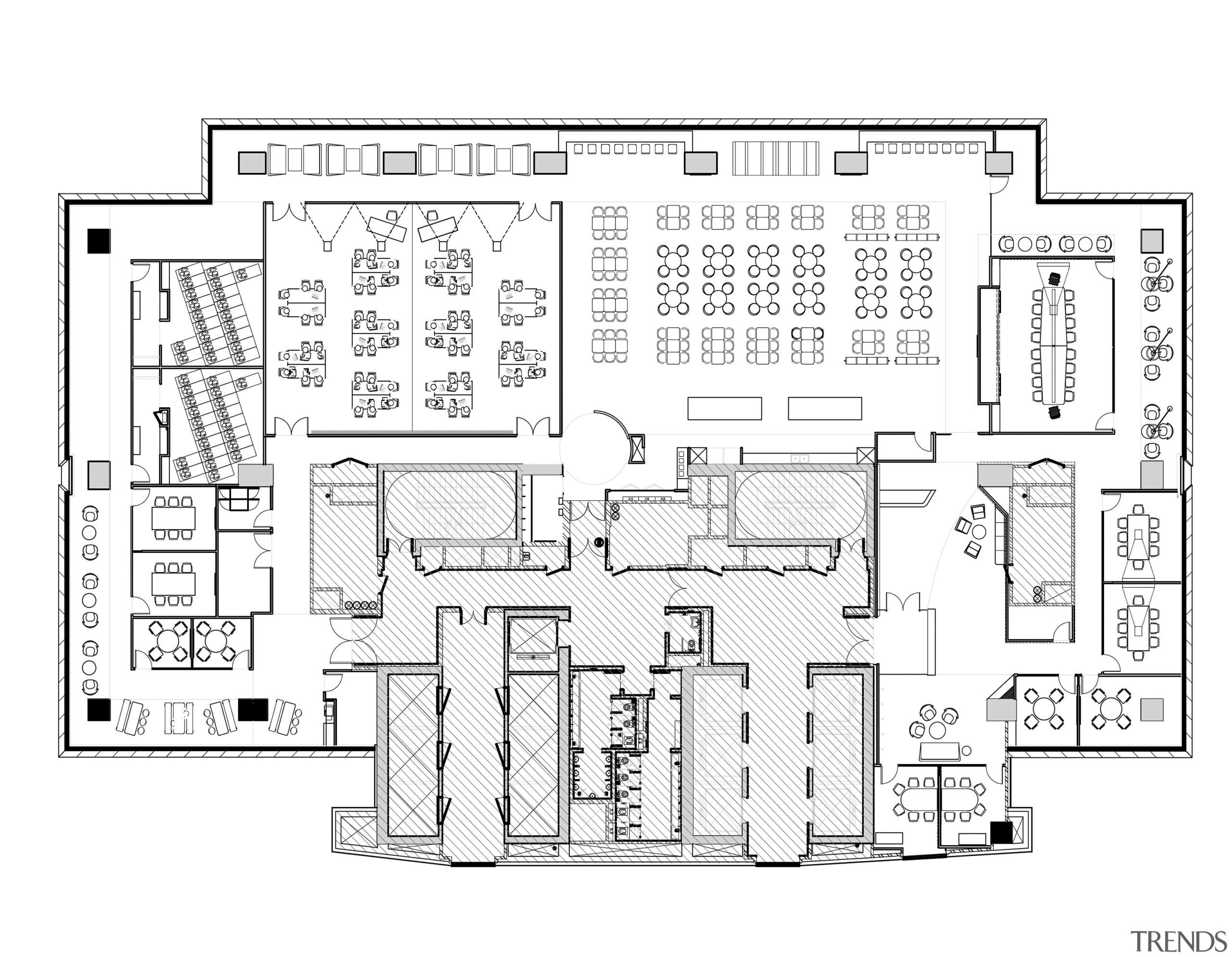 This partial plan of a back-office floor shows area, black and white, design, diagram, drawing, floor plan, line, line art, plan, product, product design, schematic, technical drawing, text, white