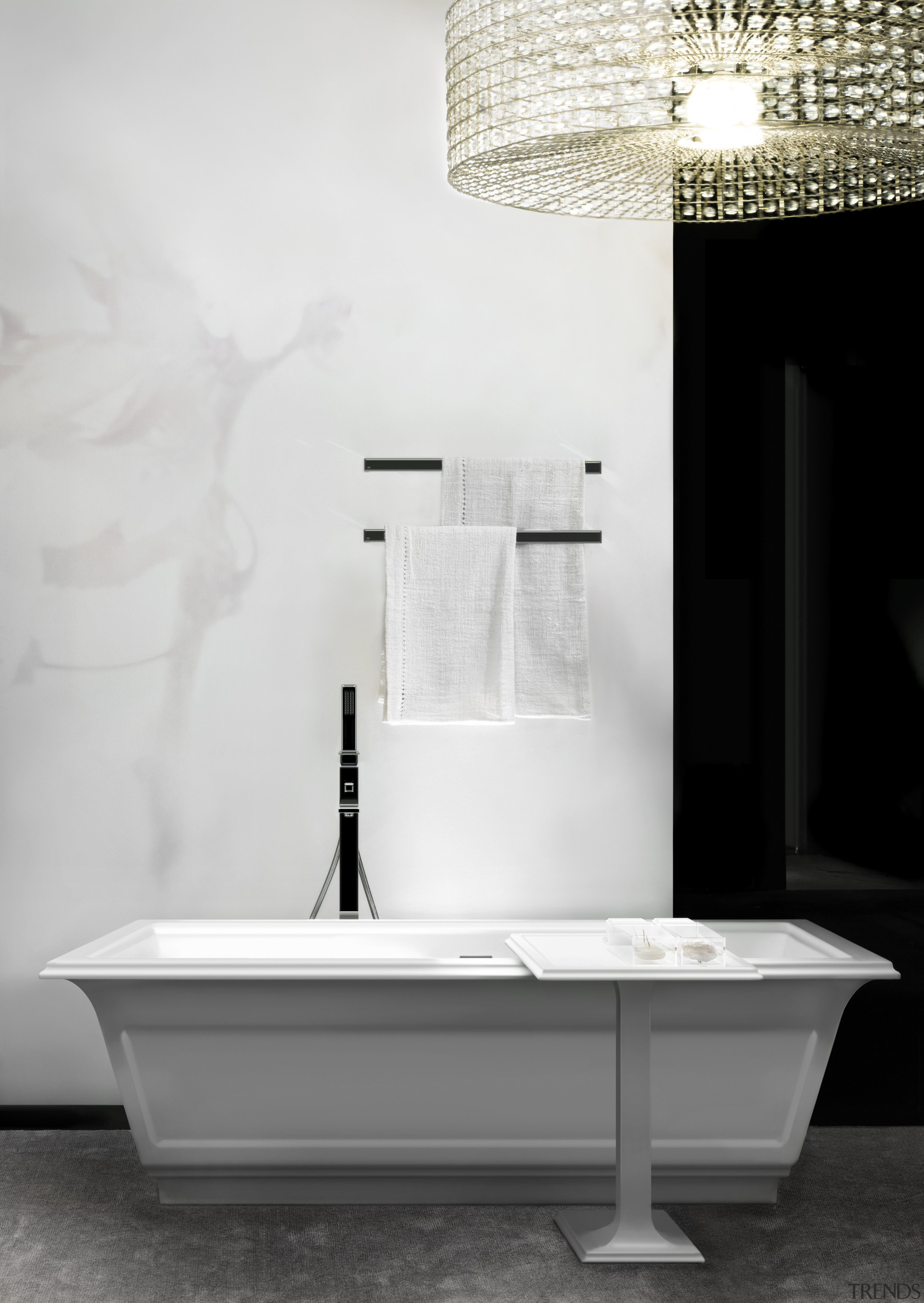 Pared-down simplicity can bring charm and a modern-meets-traditional bathroom, bathroom sink, black and white, floor, furniture, interior design, plumbing fixture, product, product design, sink, table, tap, wall, white, black