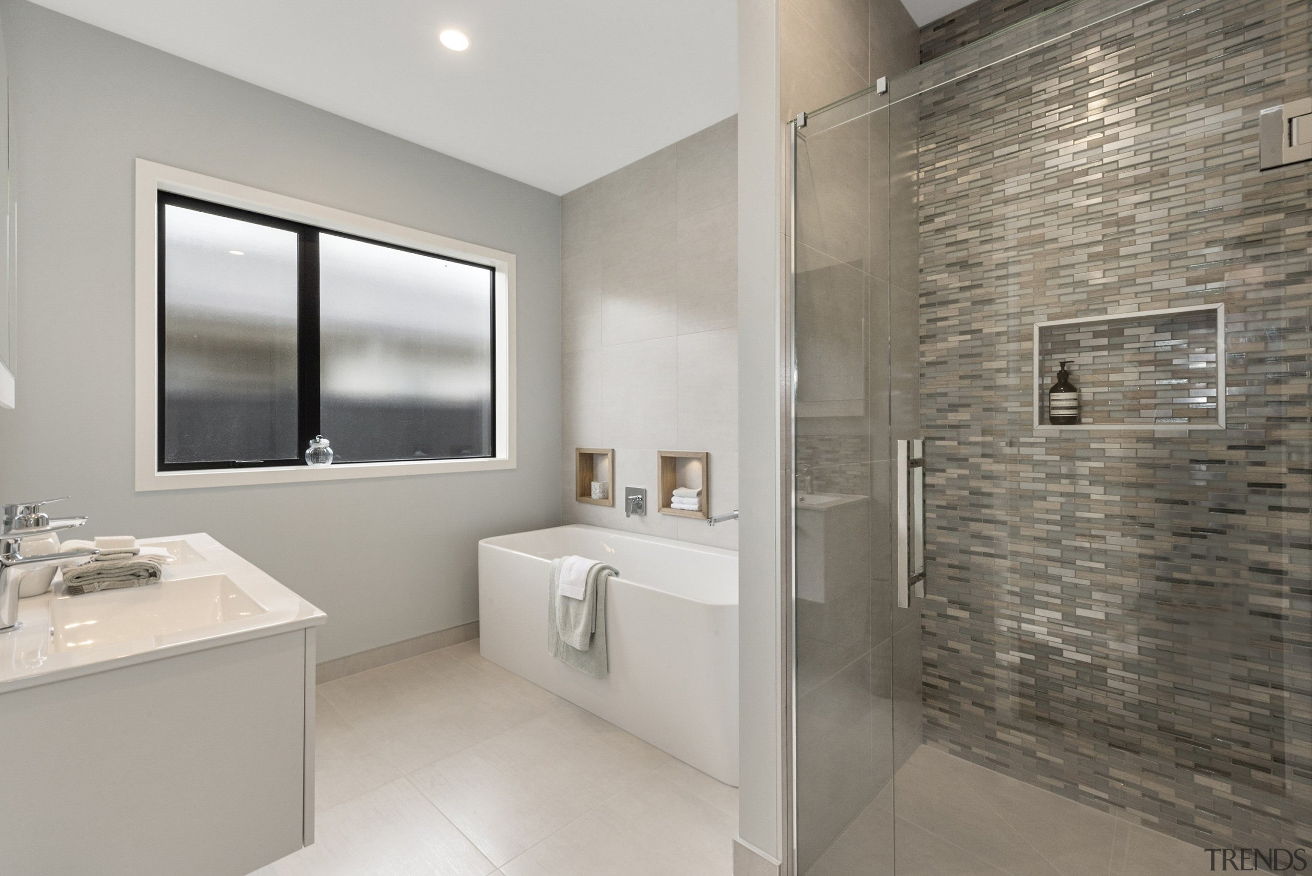 Tiled shower with frameless glass, and Otto freestanding bathroom, floor, home, interior design, property, real estate, room, sink, tile, gray