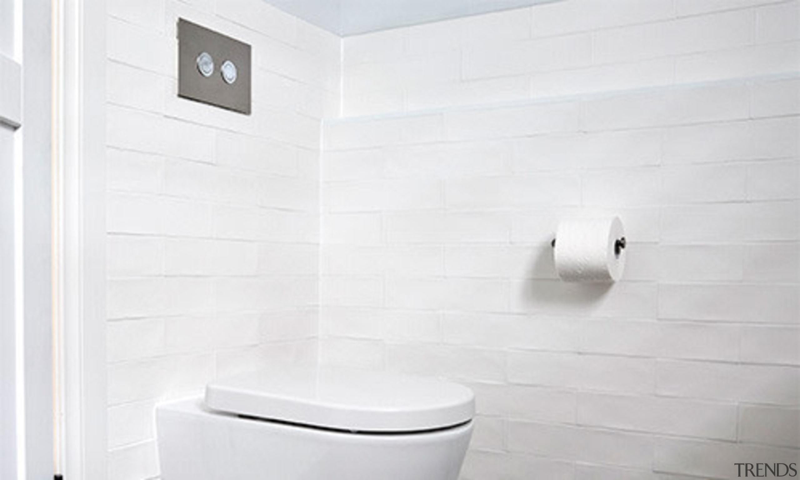 Cisterns provide a clean look - Thepowderoom Hideaway bathroom, bathroom accessory, bathroom cabinet, bathroom sink, bidet, ceramic, floor, plumbing fixture, tap, tile, toilet, toilet seat, wall, white