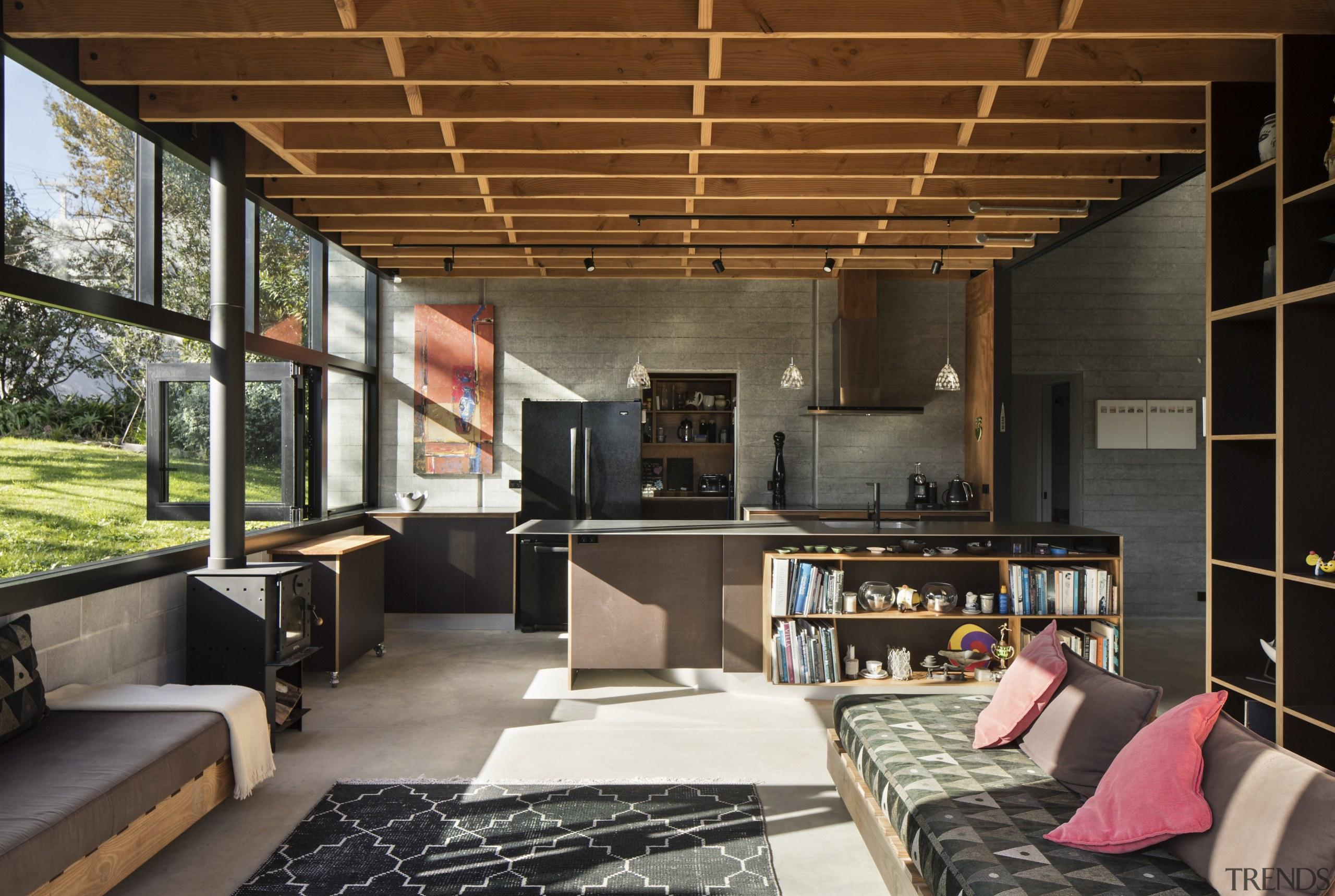 The kitchen sits beneath the mezzanine level at house, interior design, living room, loft, kitchen,