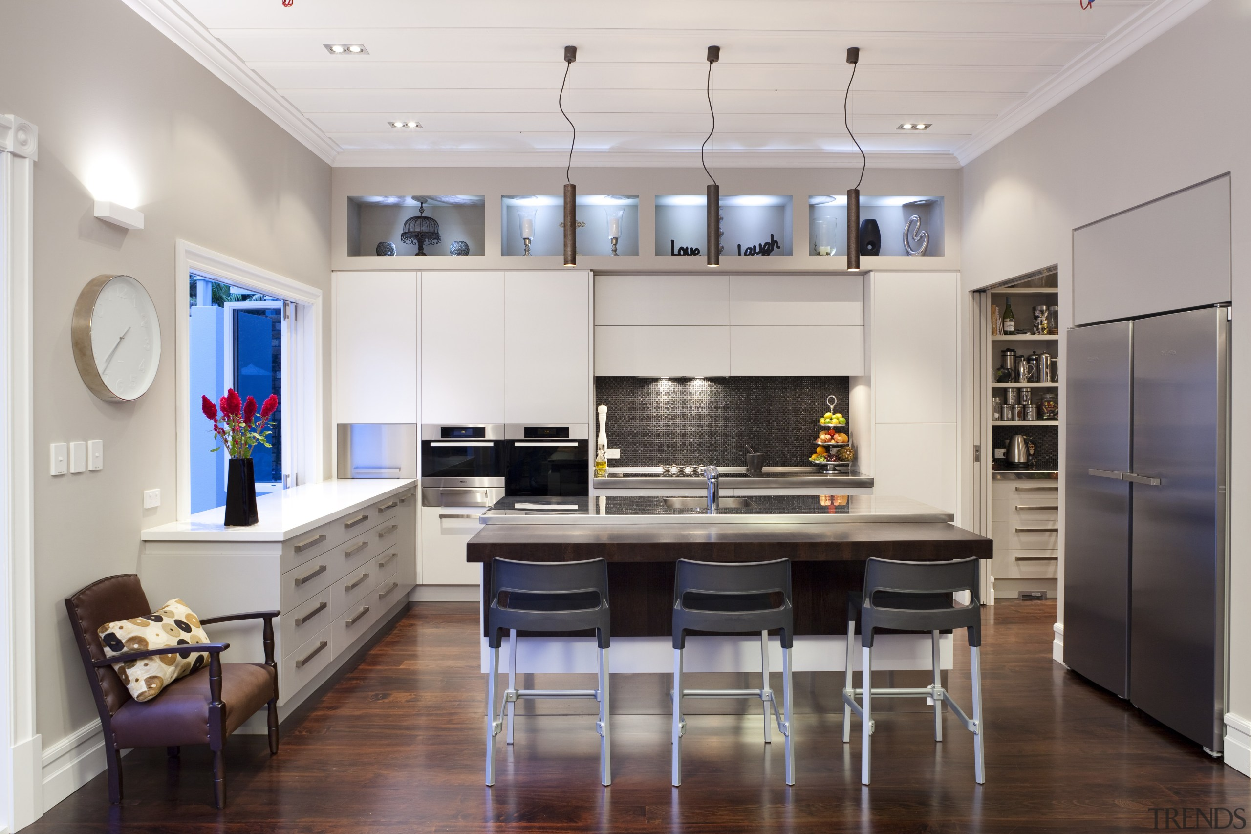 wide shot of entire kitchen, front-on - wide ceiling, countertop, interior design, kitchen, living room, real estate, room, gray