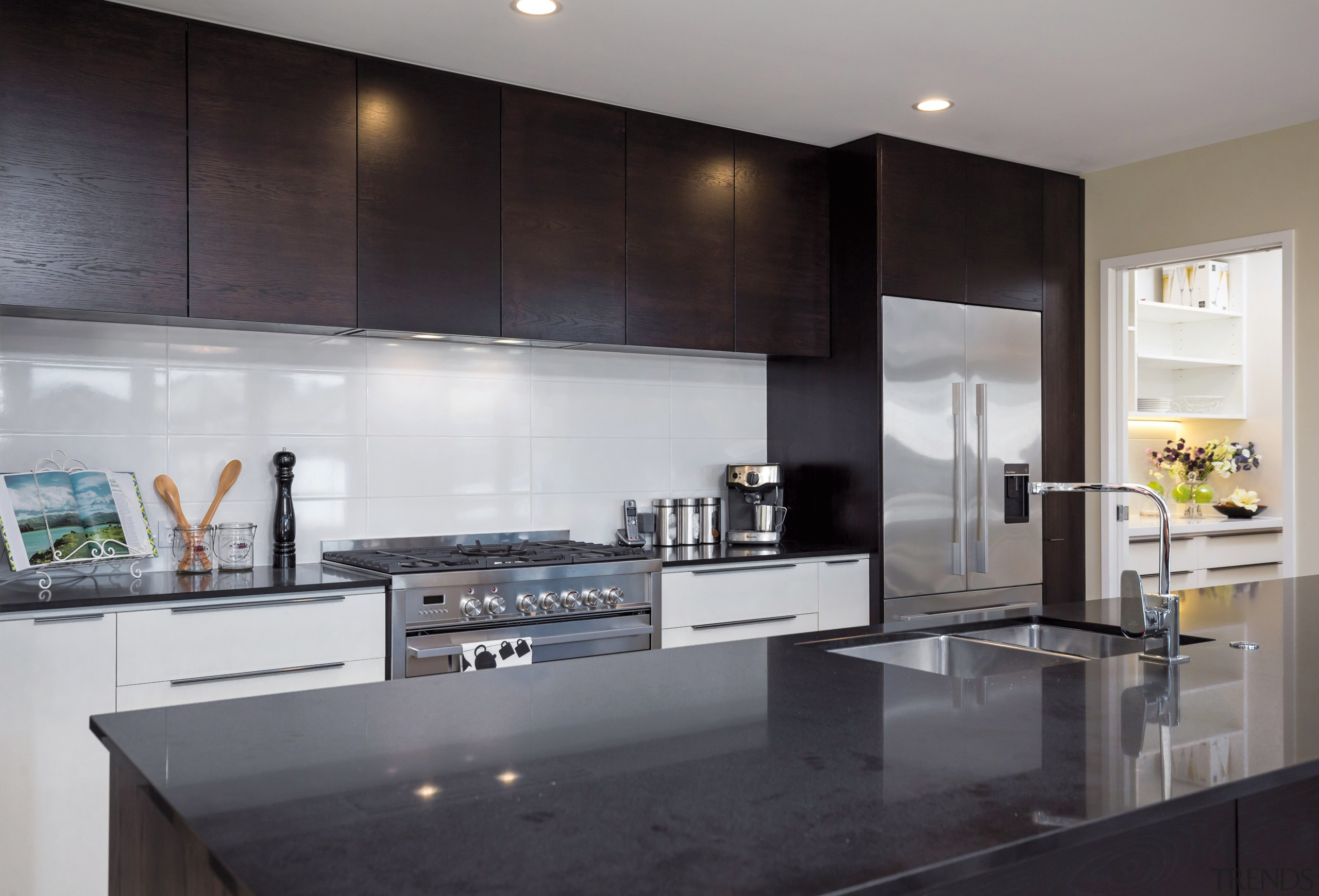 Ample storage is a feature of this kitchen, countertop, interior design, kitchen, gray, black