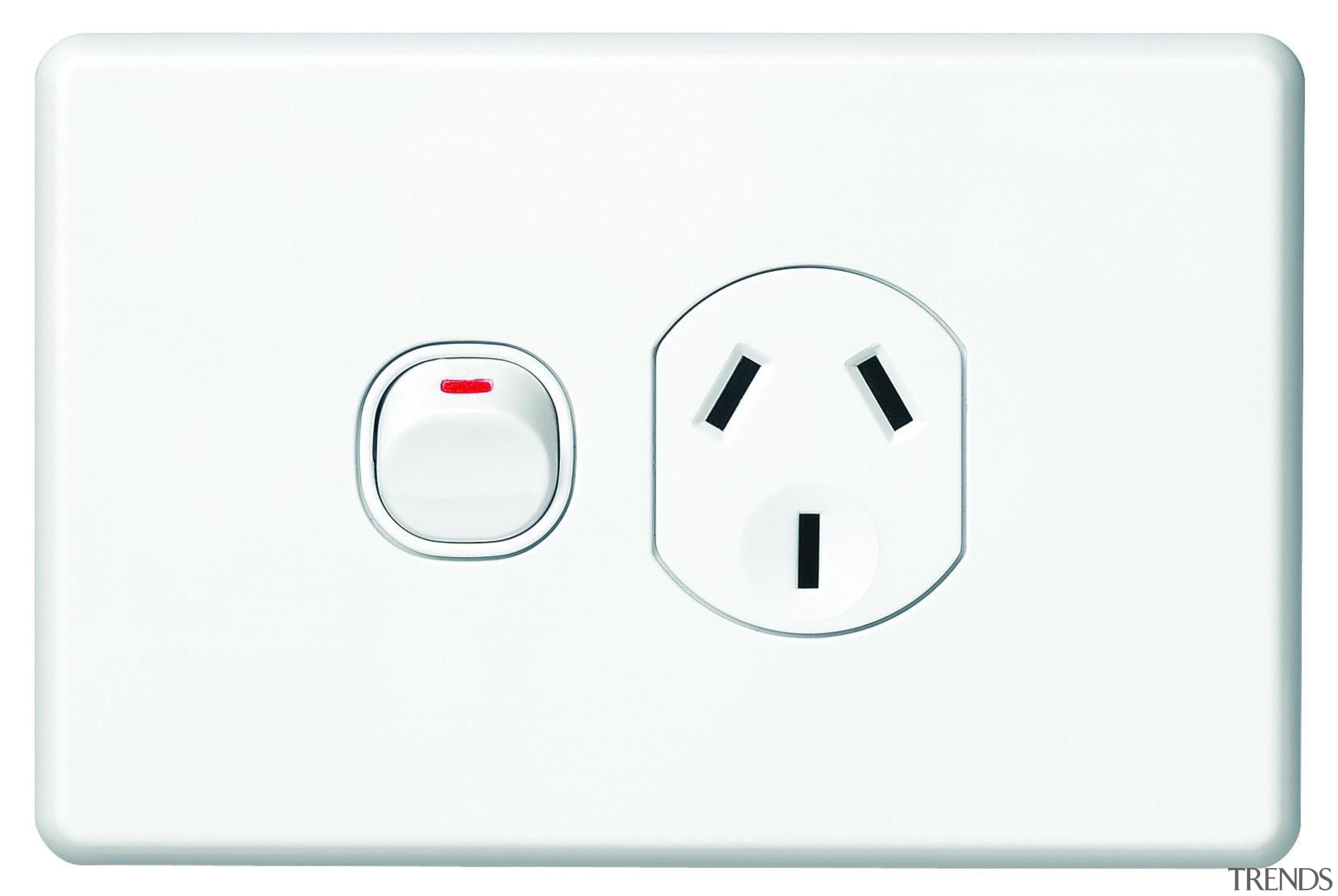 Slimline Series single horizontal socket White - SC2015 ac power plugs and socket outlets, electronic device, technology, white