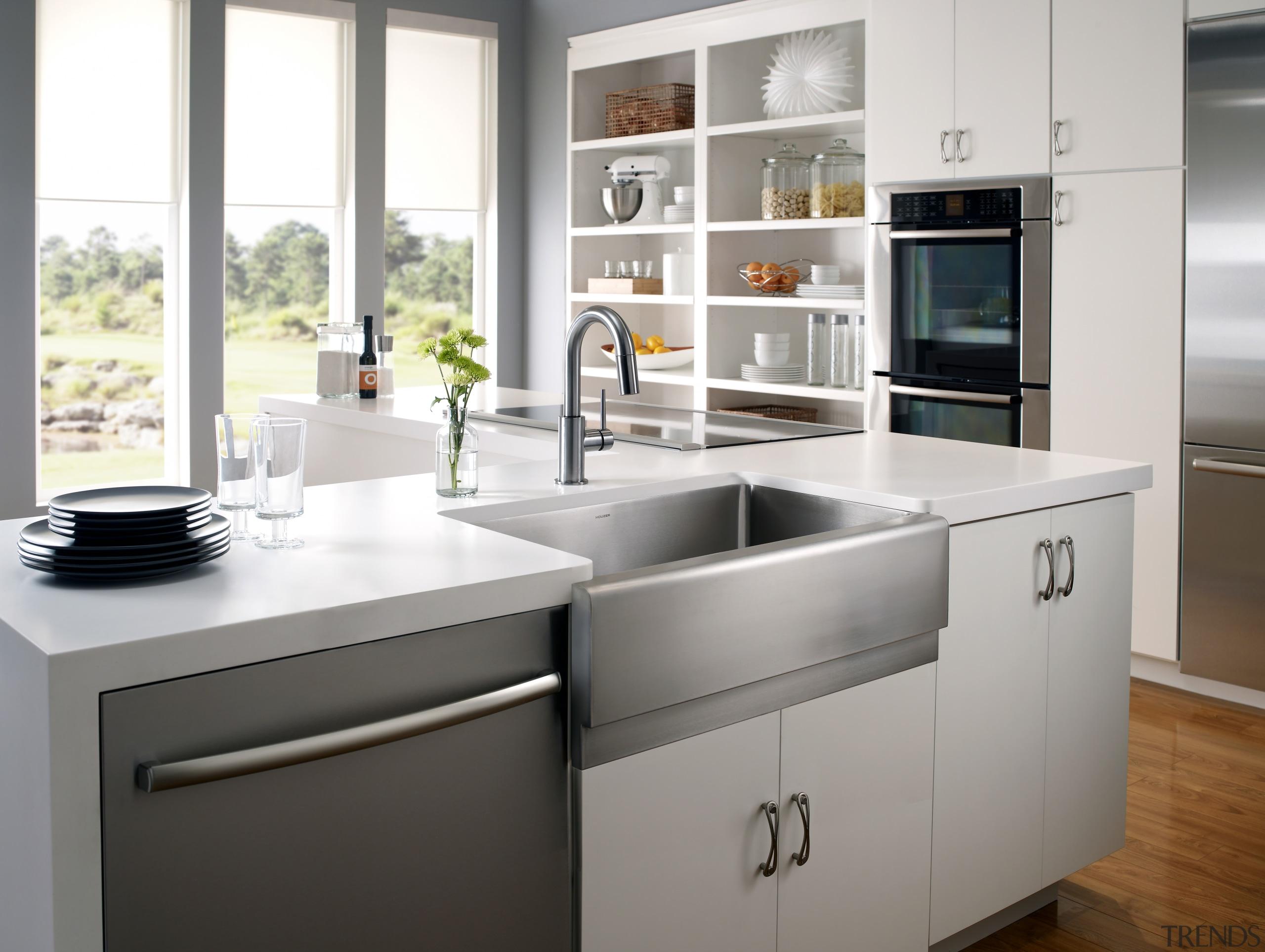 Epicure apron front sink by Houzer - Epicure cabinetry, countertop, cuisine classique, home appliance, kitchen, kitchen appliance, kitchen stove, product design, white, gray