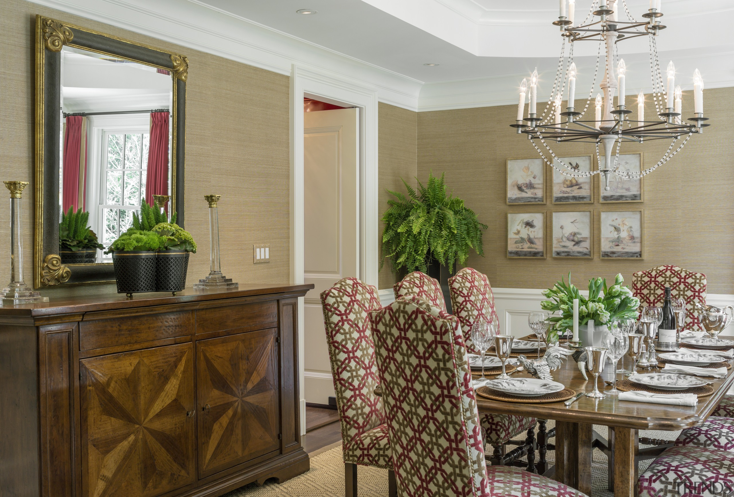 The formal dining room in this New England dining room, home, interior design, living room, room, window, brown, gray