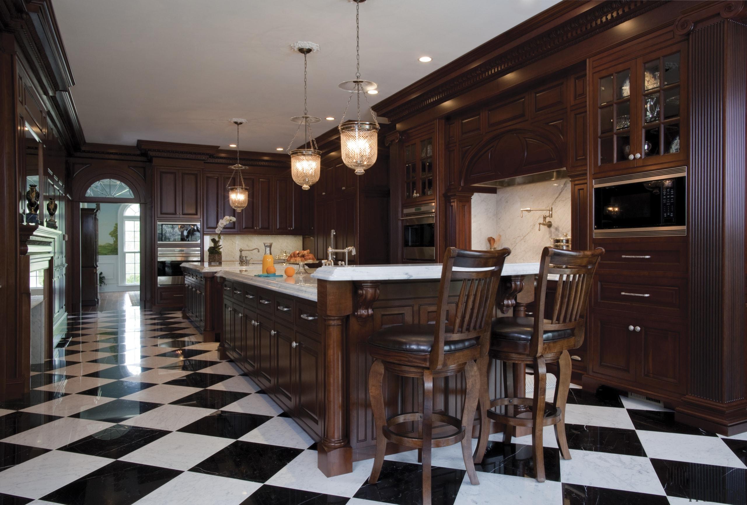 Long kitchen by designer Robert A Tretsch III cabinetry, countertop, cuisine classique, floor, flooring, furniture, hardwood, interior design, kitchen, room, wood, red, gray