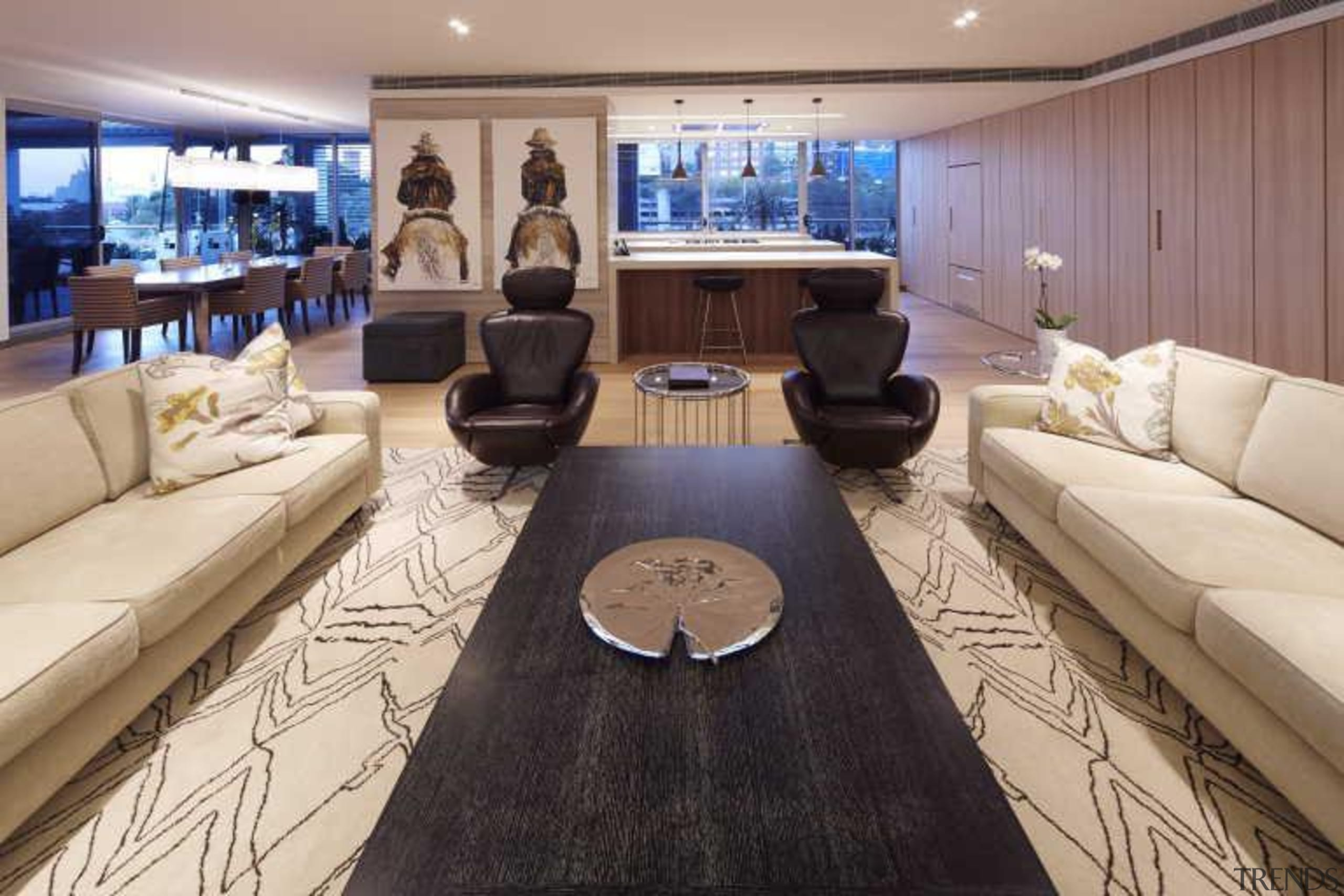 In this contemporary apartment renovation, woodgrain surfaces from interior design, living room, yacht, gray