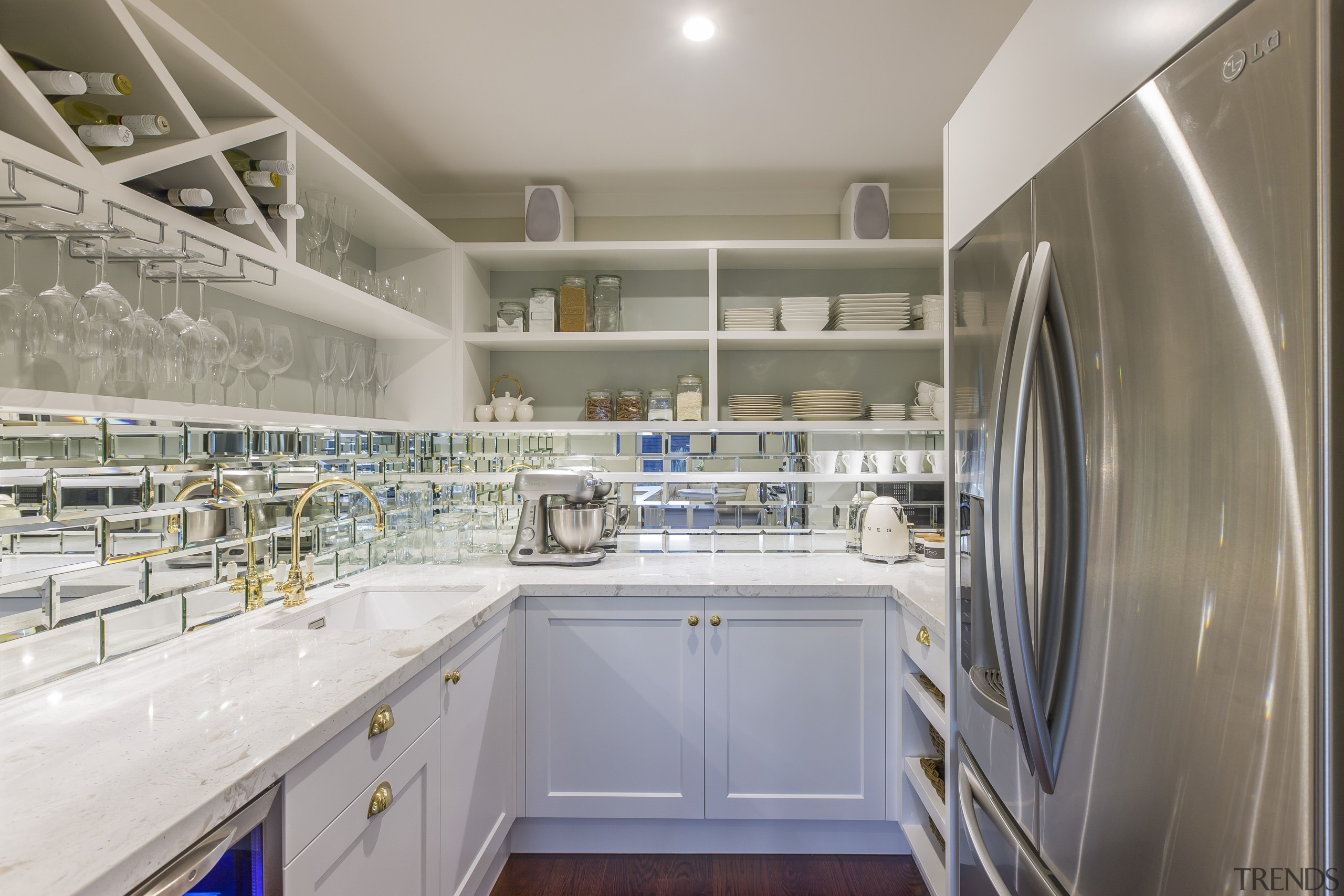 This new scullery houses the fridge, small appliances, countertop, kitchen, real estate, gray