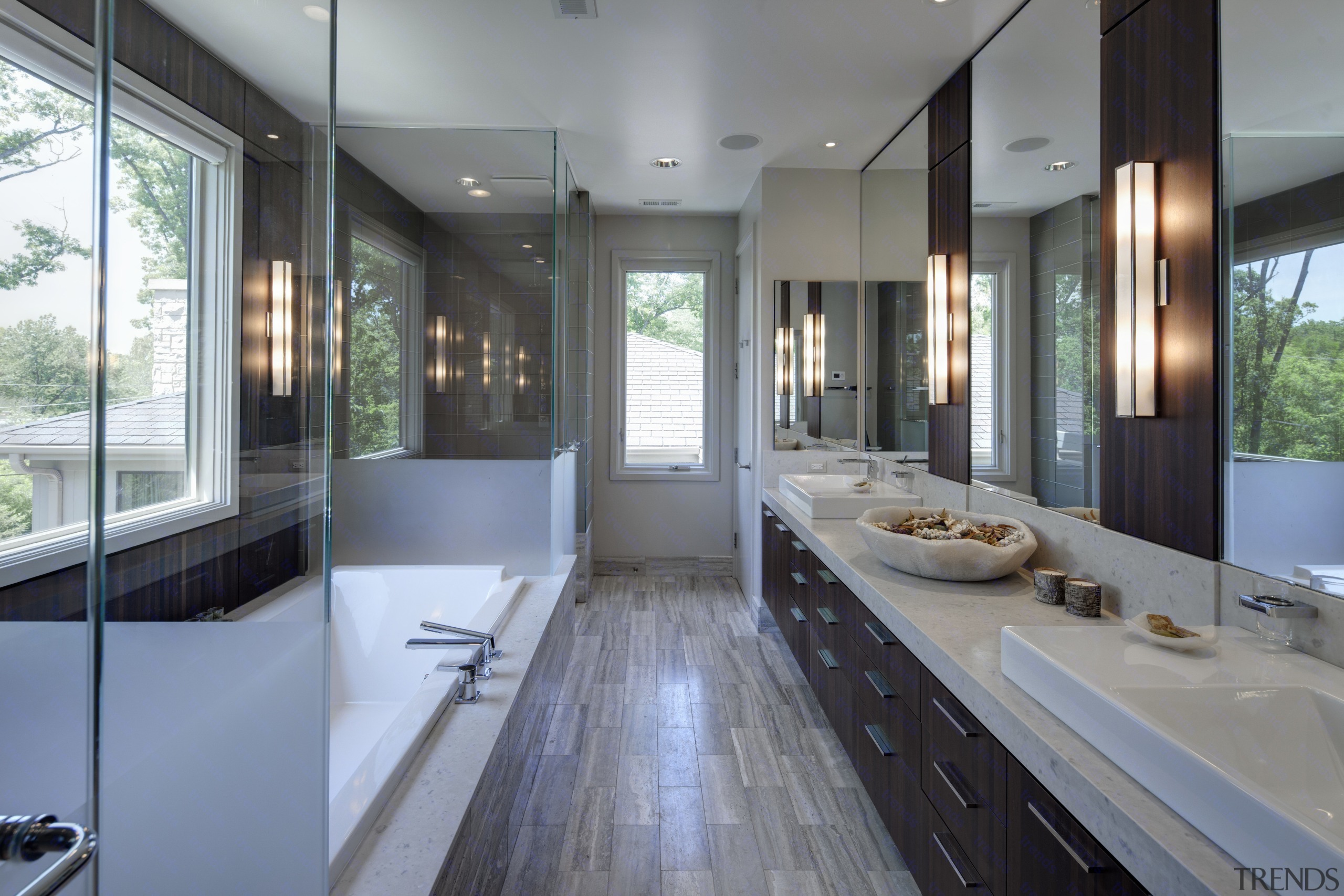 Greys and whites offset wooden floors and ceilings. bathroom, countertop, interior design, kitchen, room, window, gray