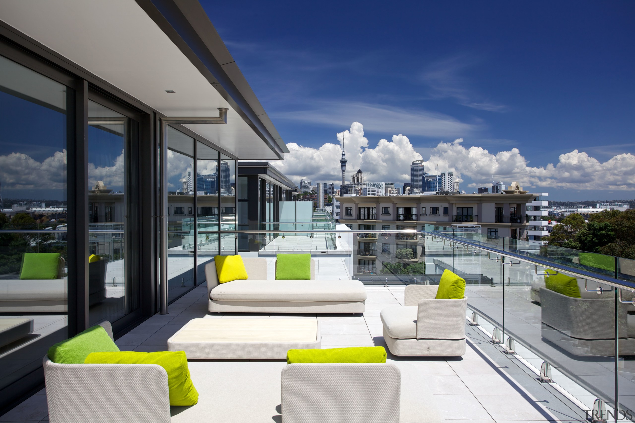 Large terraces are a feature of the four apartment, architecture, condominium, home, house, interior design, penthouse apartment, real estate, gray, blue