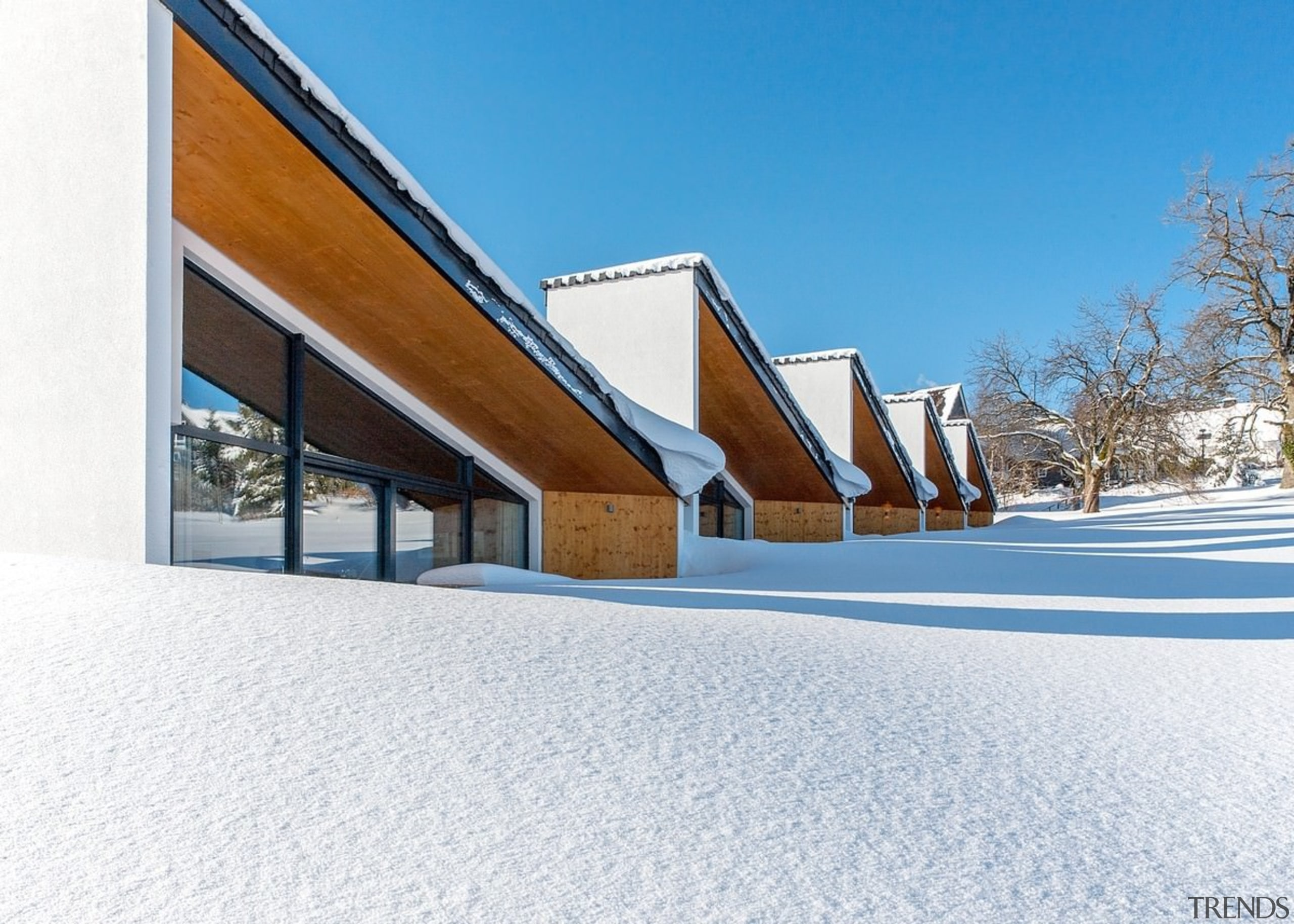 Fresh snowfall - Fresh snowfall - architecture   architecture, building, facade, home, house, property, real estate, roof, sky, snow, winter, white, teal