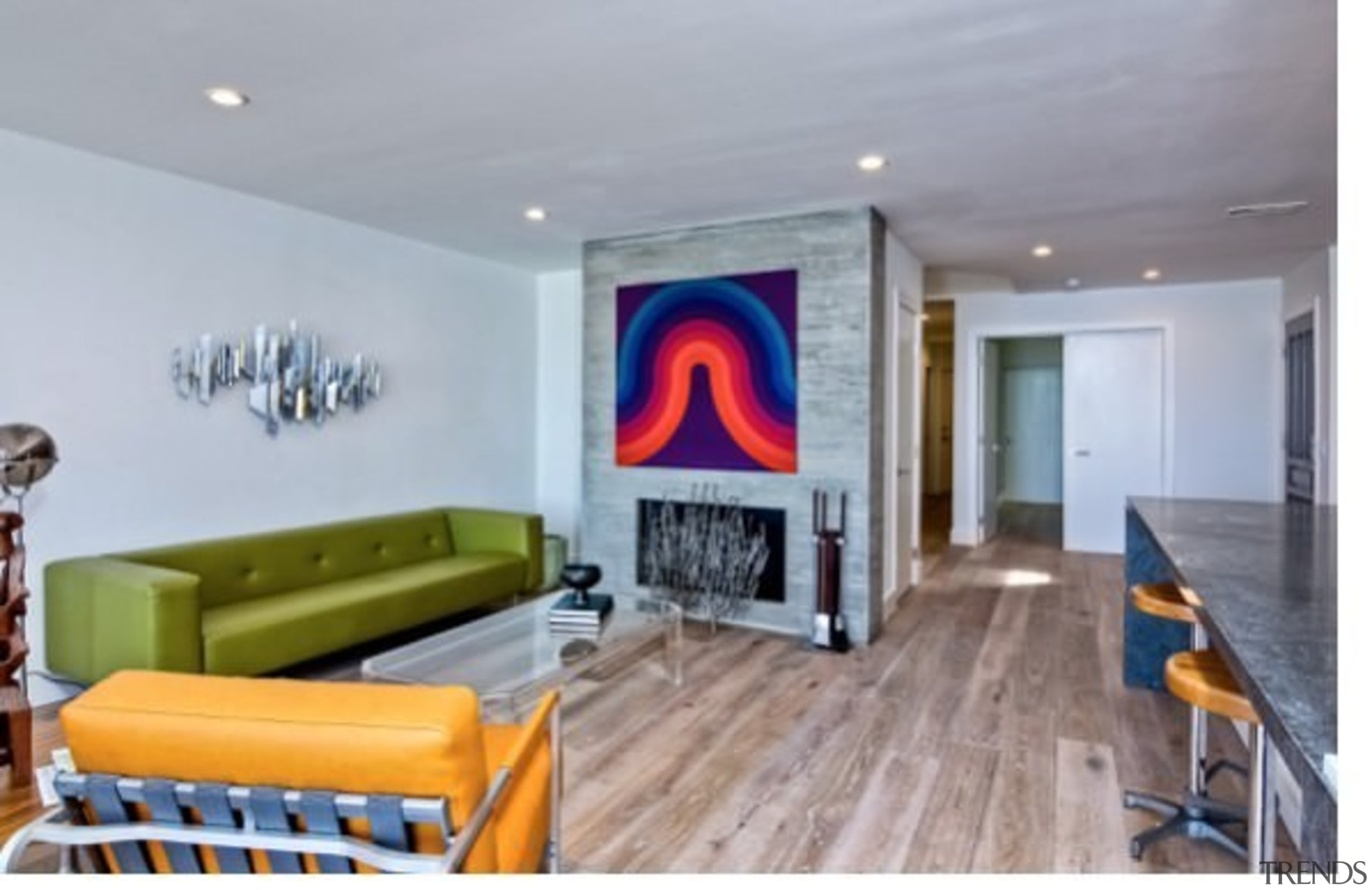 Wood floors run throughout the home - Wood ceiling, home, interior design, living room, property, real estate, room, wall, gray