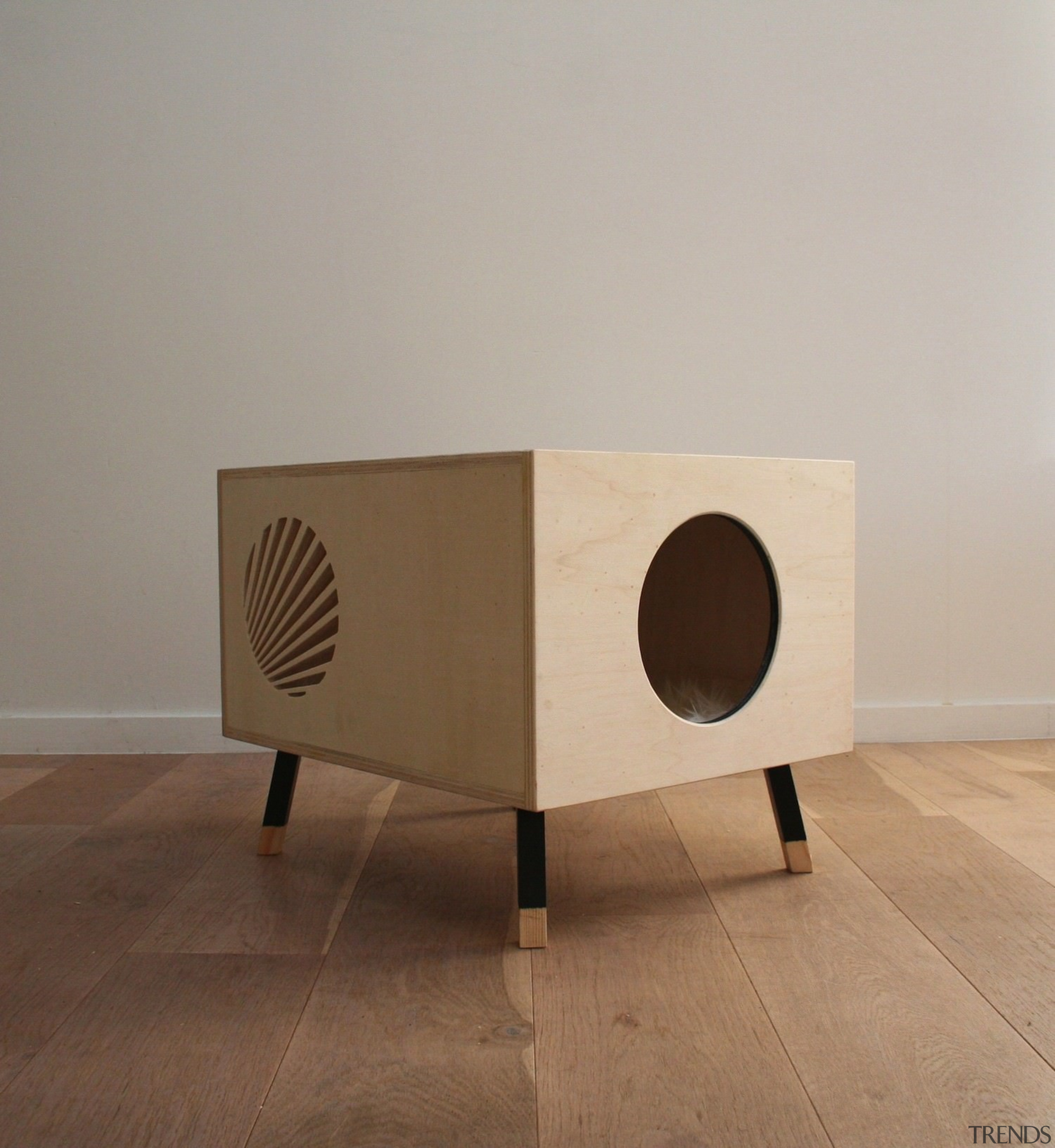 Designed by Krab - The table sits above furniture, plywood, product design, table, gray, brown