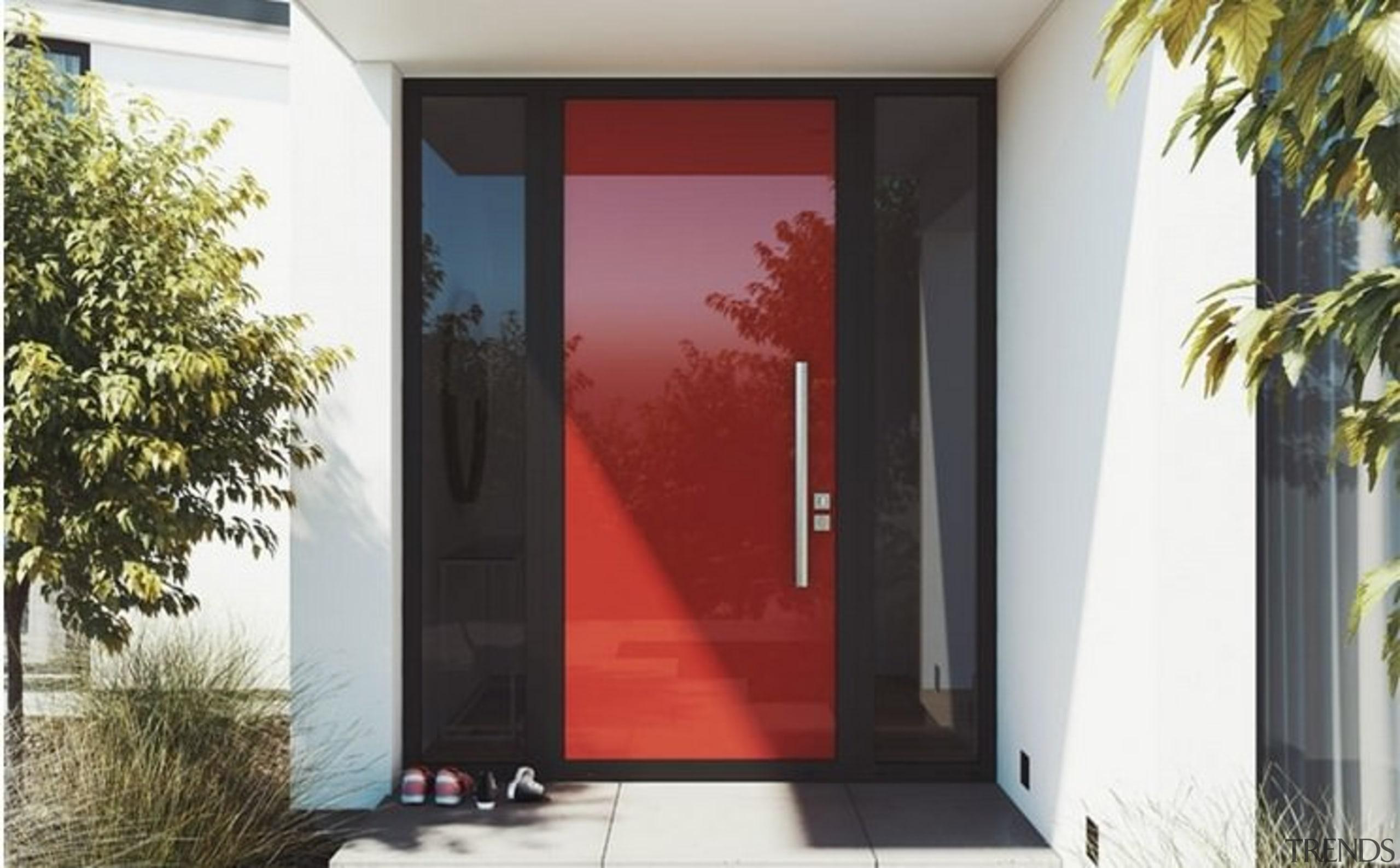 Element door in Lobster red - Element door door, facade, home, house, interior design, property, real estate, window