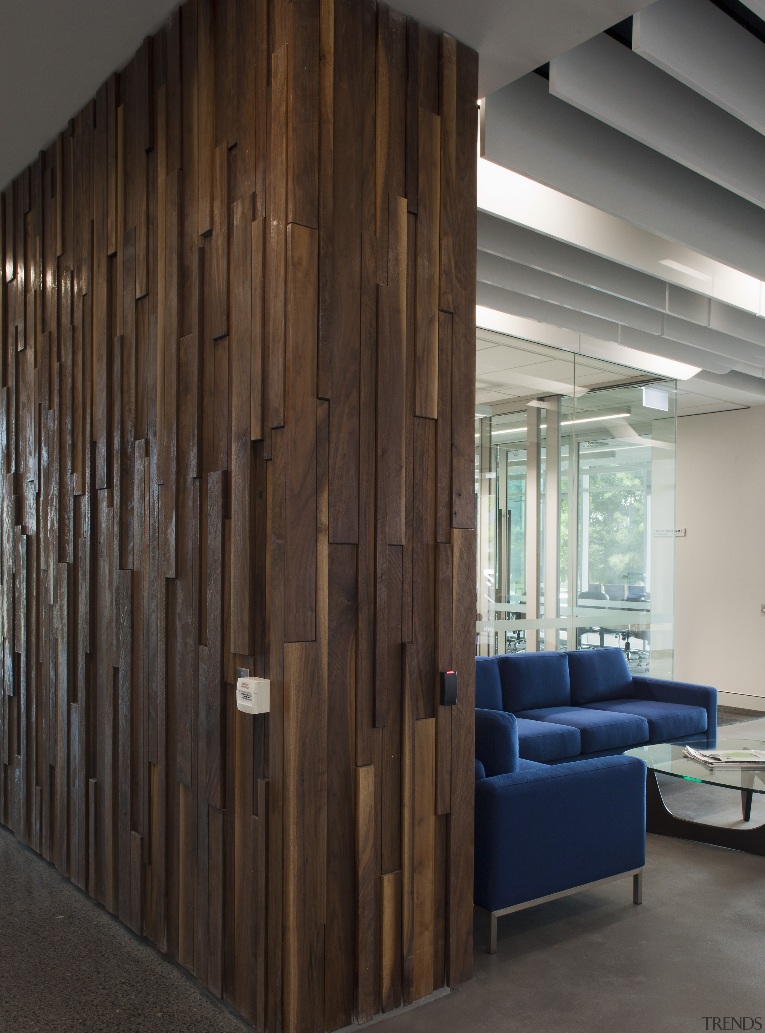 This boutique office development on a brownfields site architecture, furniture, interior design, wall, wood, brown, gray