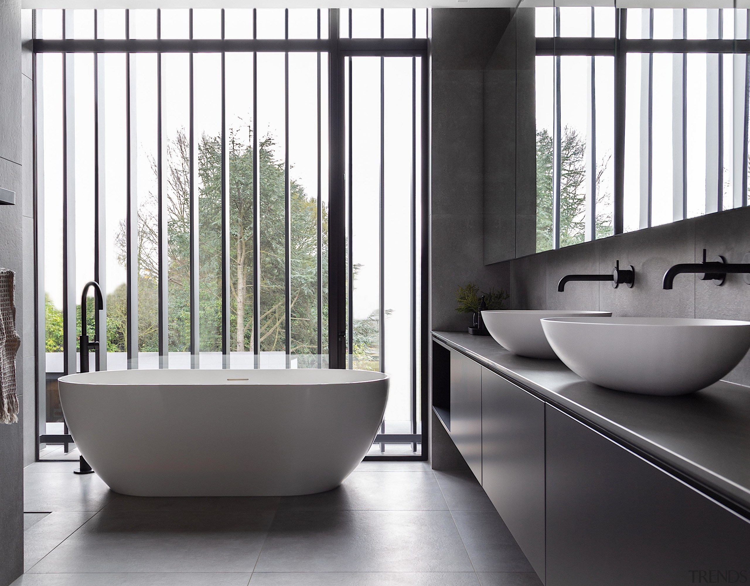 This understated family bathroom was deliberately designed to