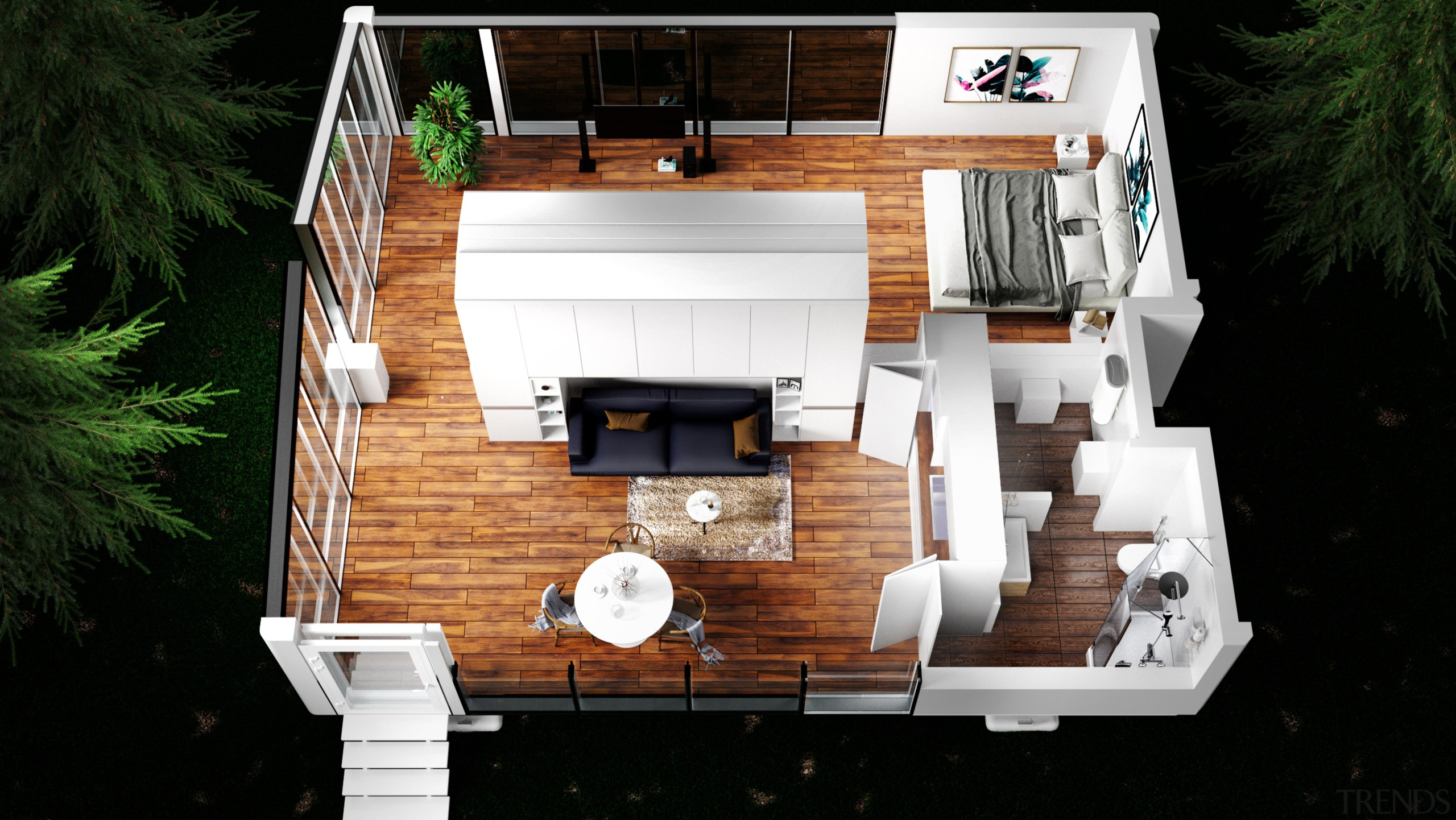 The living room in the larger, family-sized version architecture, backyard, building, design, floor, floor plan, flooring, home, house, interior design, log cabin, property, real estate, room, scale model, black