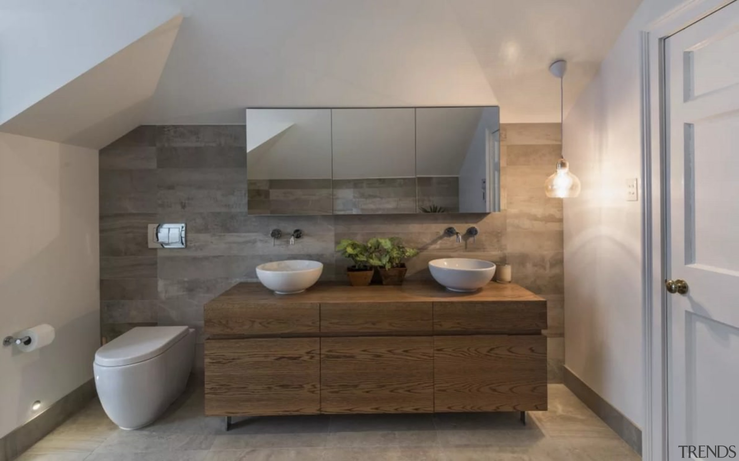 Floating vanities make bathrooms feel much larger - bathroom, bathroom accessory, bathroom cabinet, countertop, floor, home, interior design, room, sink, gray