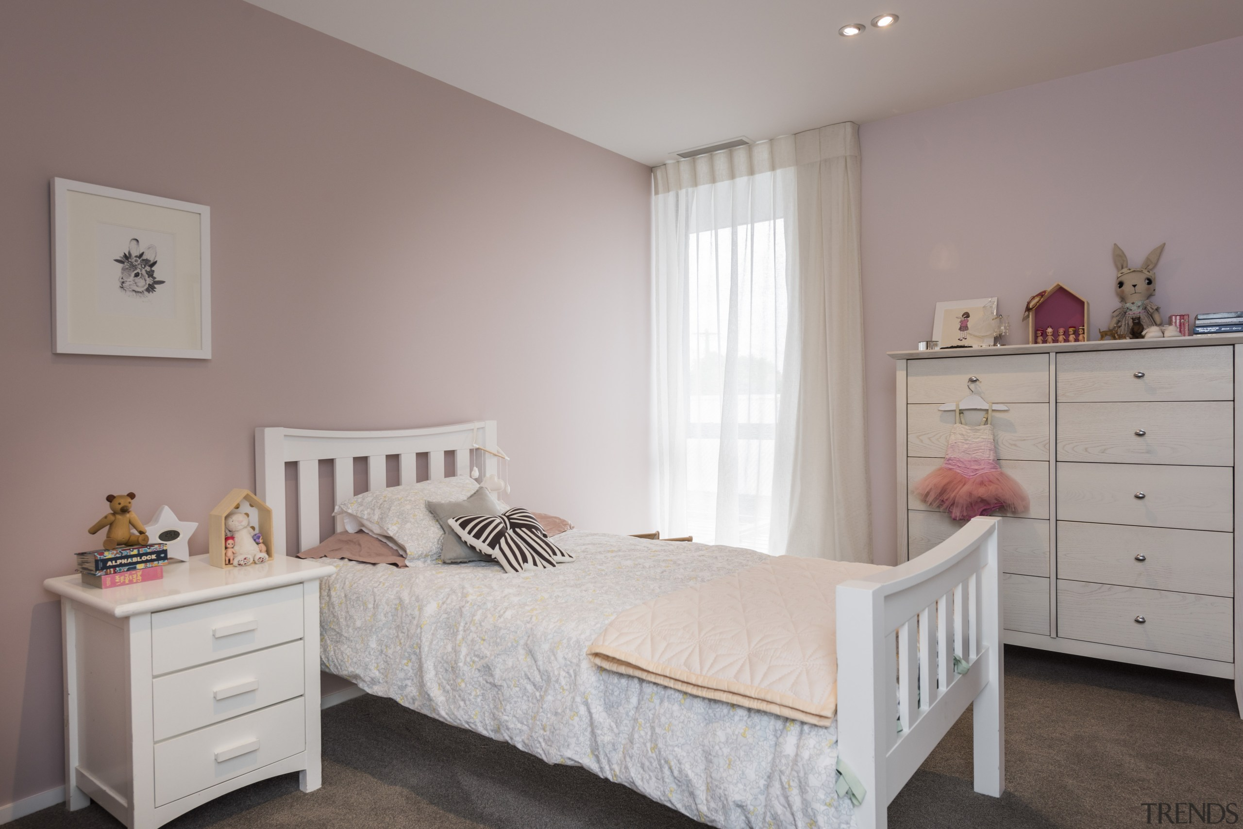 Eterno Design effortlessly brought an individual aesthetic to bed, furniture, home, interior designroom, wall, resene paint, Blanched pink, girls room