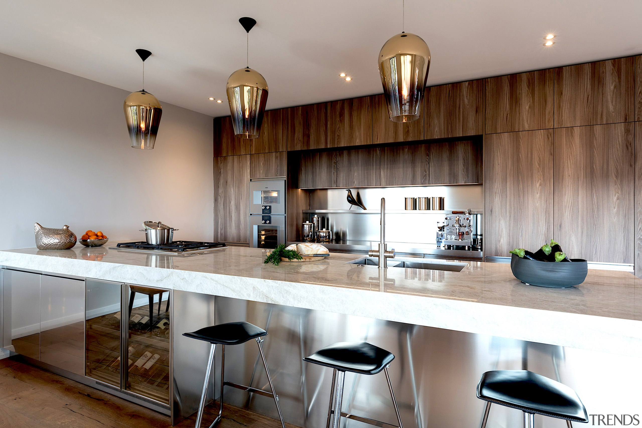 Social agenda – the long benchtop, actually 4.6m architecture, bar stool, building, cabinetry, ceiling, countertop, cuisine classique, floor, flooring, furniture, hardwood, home, house, interior design, kitchen, kitchen stove, material property, property, real estate, room, sink, stool, table, wood, gray