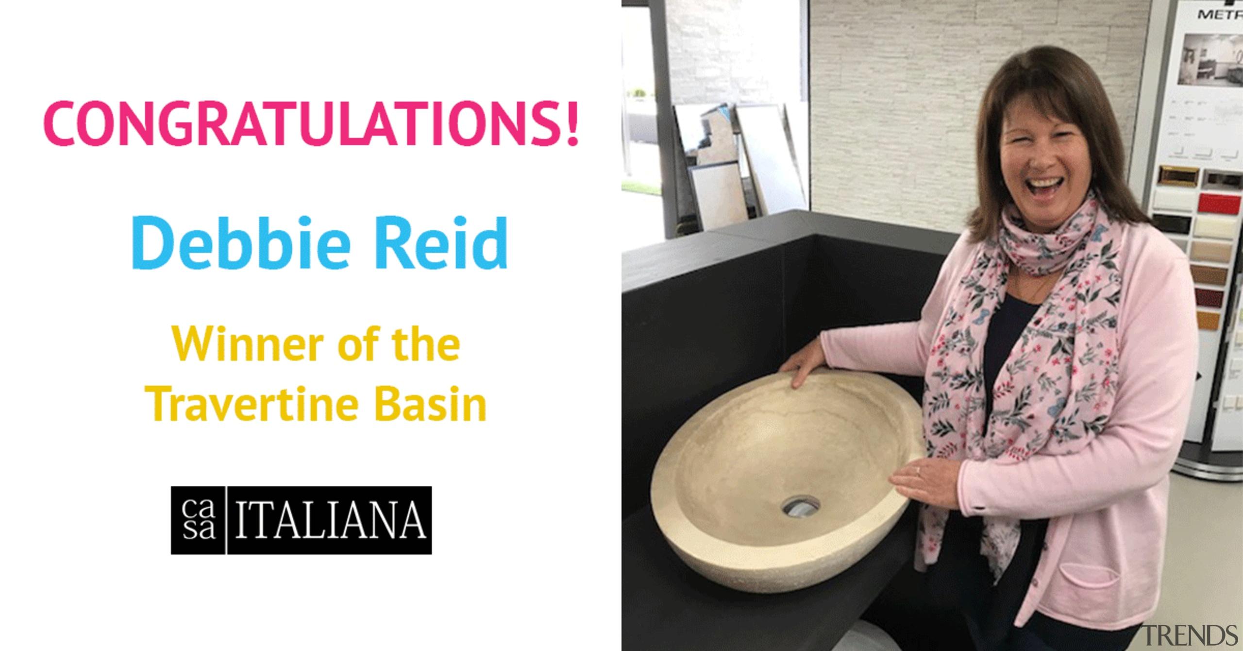 Debbie Reid with her fabulous prize! - Debbie product, white