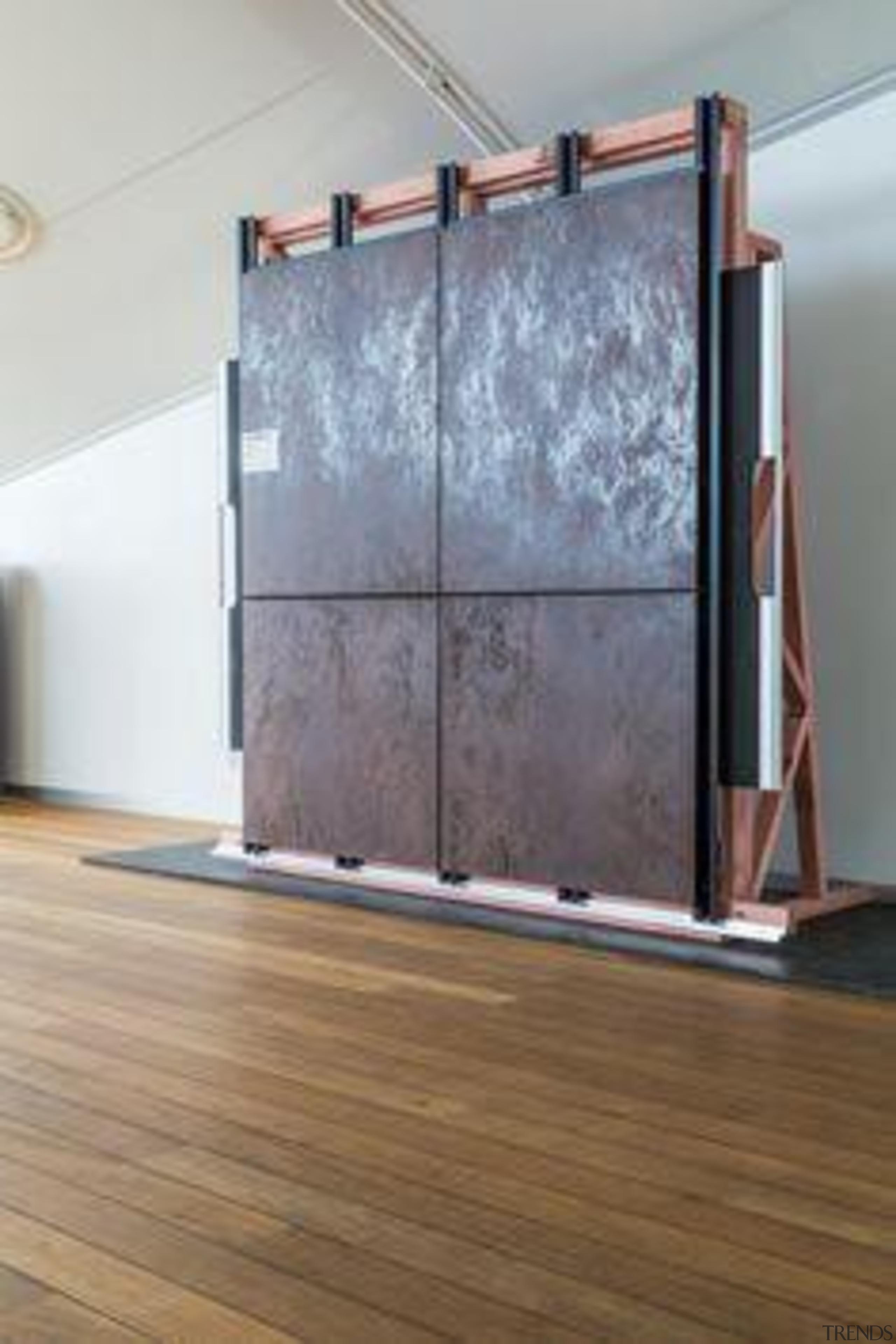 Racking wall sample, in Laminam Oxide Moro. - door, floor, flooring, furniture, glass, hardwood, laminate flooring, wall, window, wood, wood flooring, gray, brown