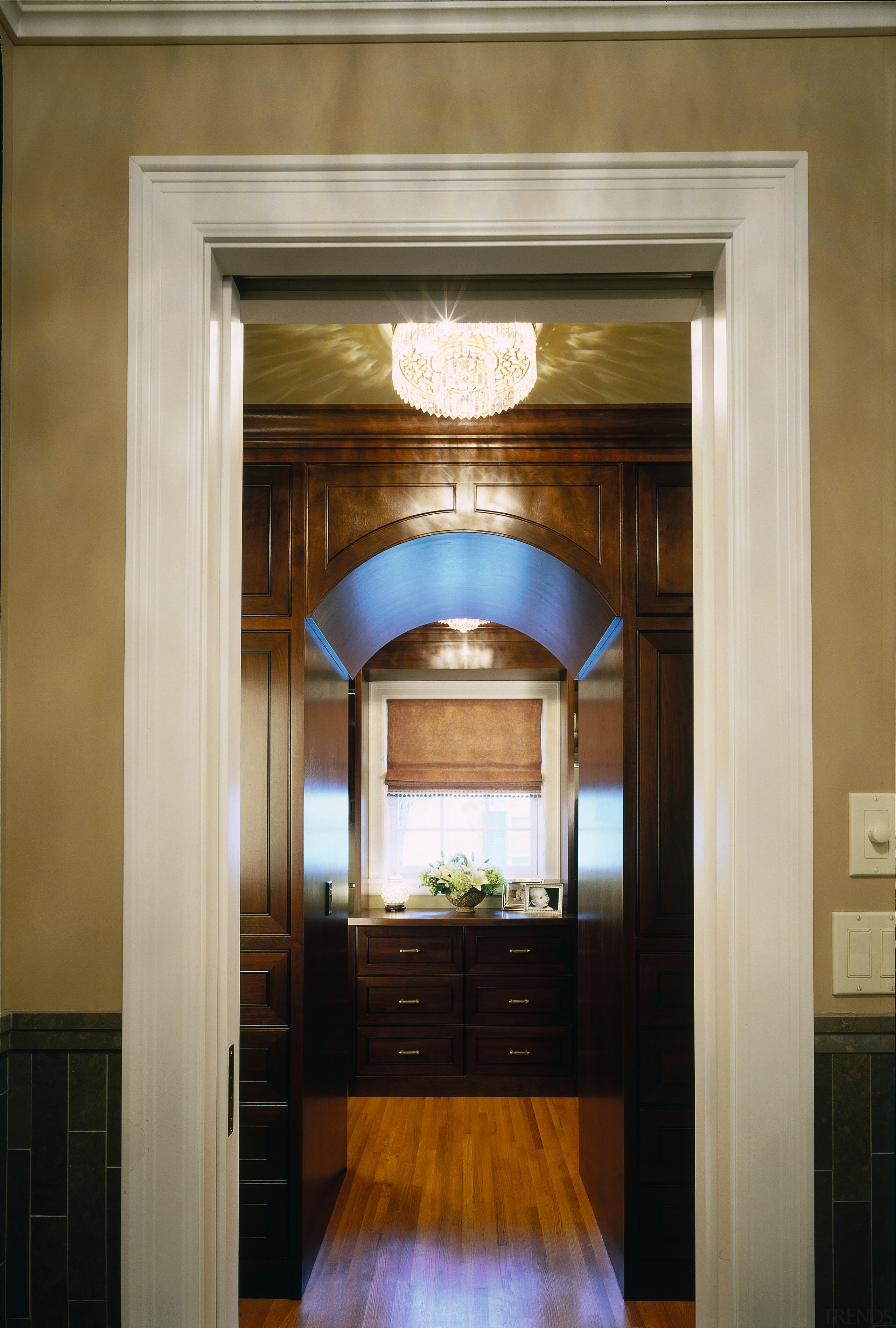 A view of the bathroom. - A view architecture, ceiling, door, home, interior design, lobby, wall, window, brown, gray