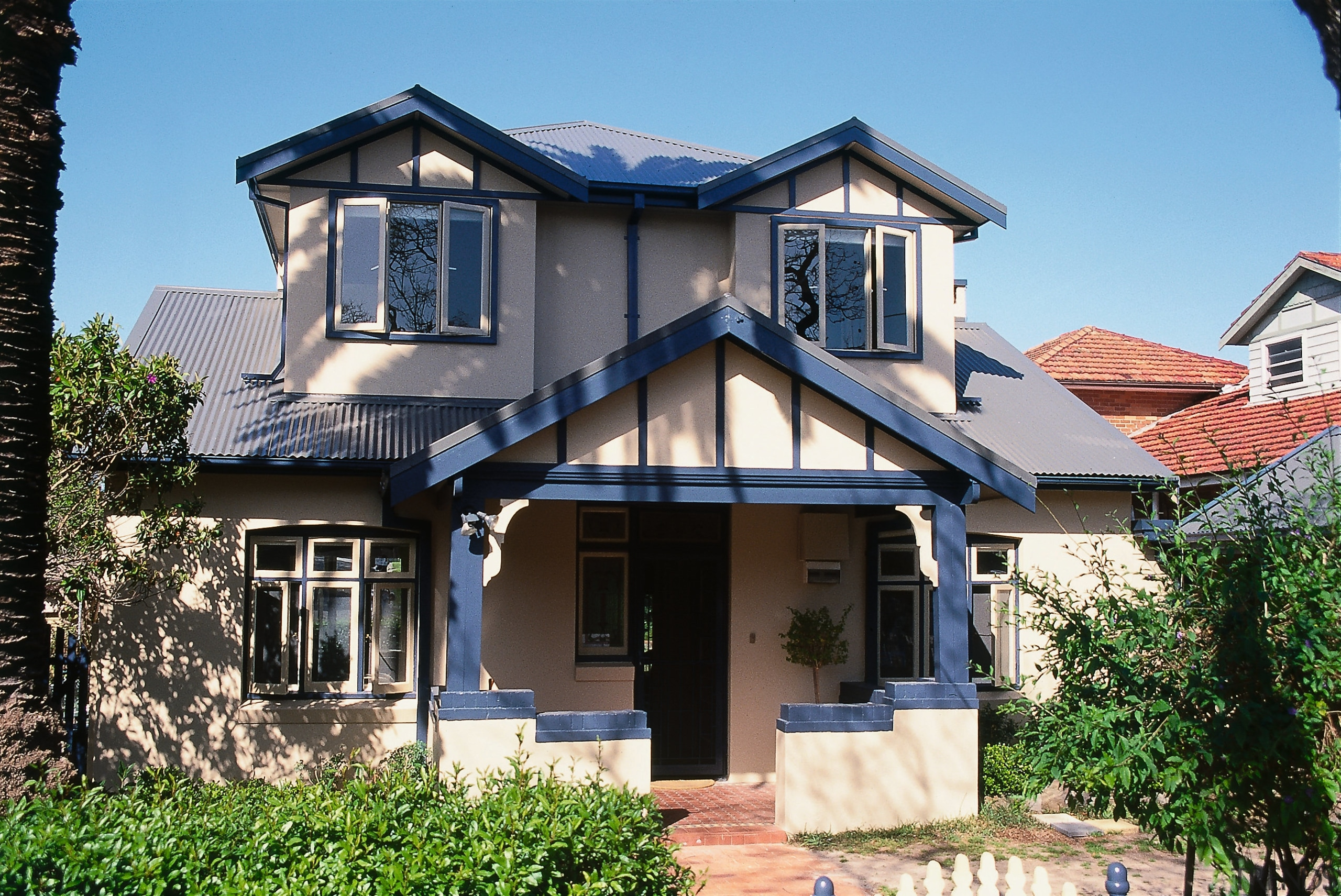 view of exterior of house - view of building, cottage, elevation, estate, facade, home, house, mansion, property, real estate, residential area, roof, siding, villa, window