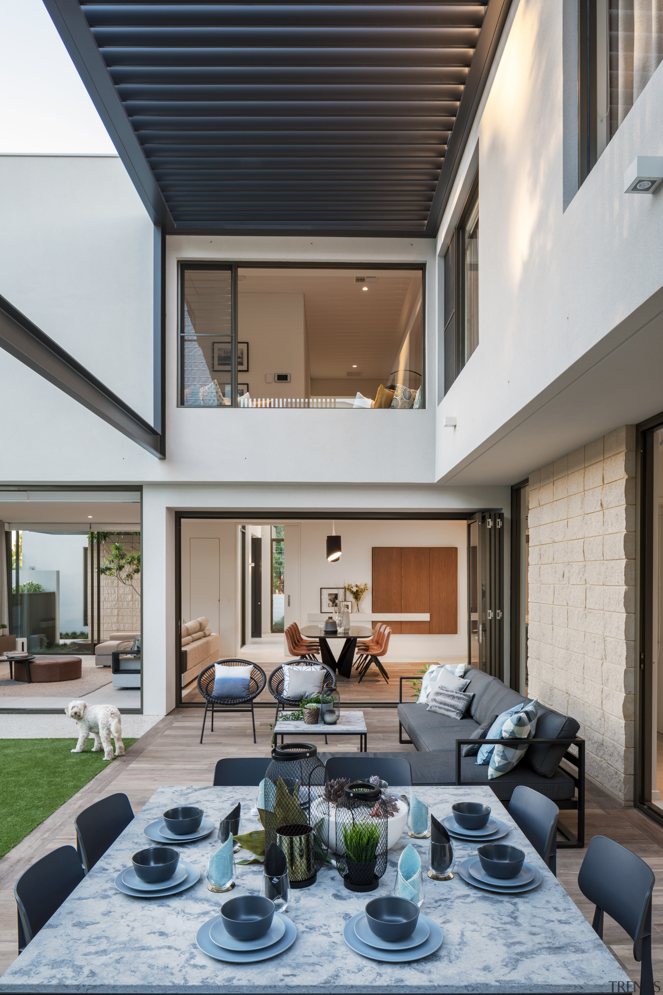 Line of sight – visitors to this home apartment, architecture, backyard, building, ceiling, coffee table, courtyard, daylighting, design, estate, facade, floor, furniture, home, house, interior design, living room, loft, patio, property, real estate, residential area, roof, room, table, gray