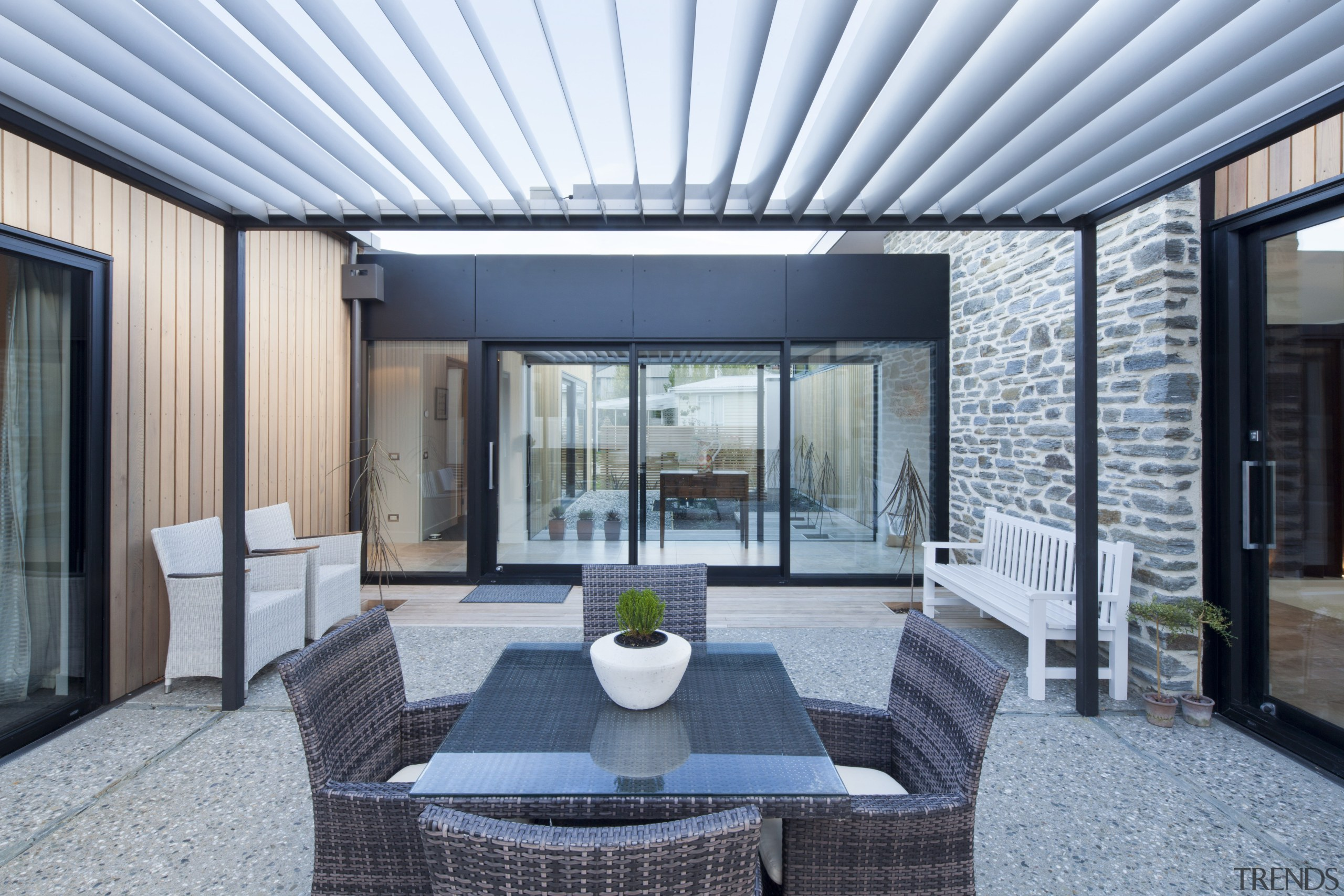 Smooth-gliding sliders from the Fairview Architectural and Thermal architecture, daylighting, house, interior design, patio, property, real estate, roof, window, gray