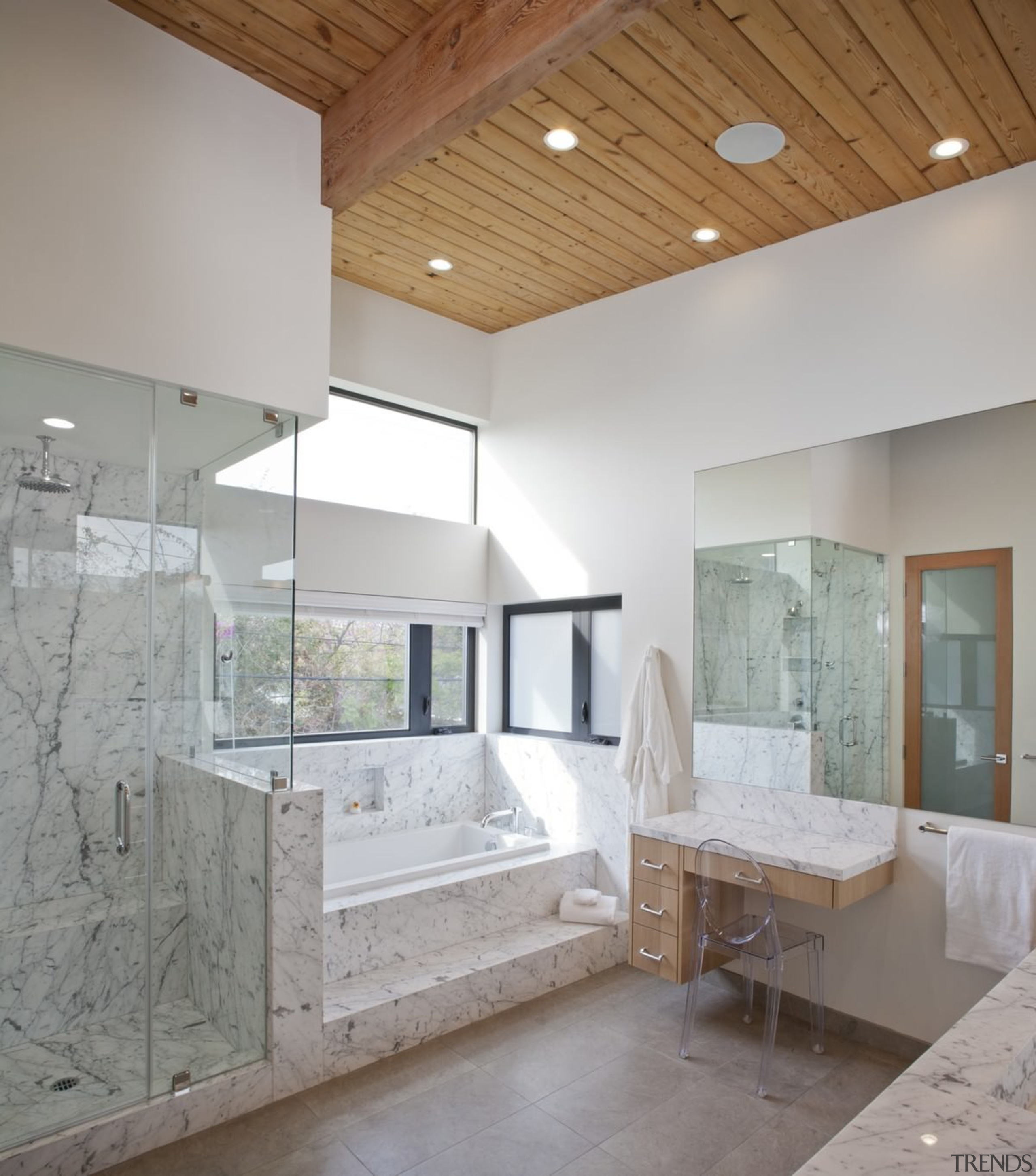 The wood ceilings carry through to the bathroom architecture, bathroom, ceiling, daylighting, estate, floor, flooring, home, house, interior design, room, tile, gray