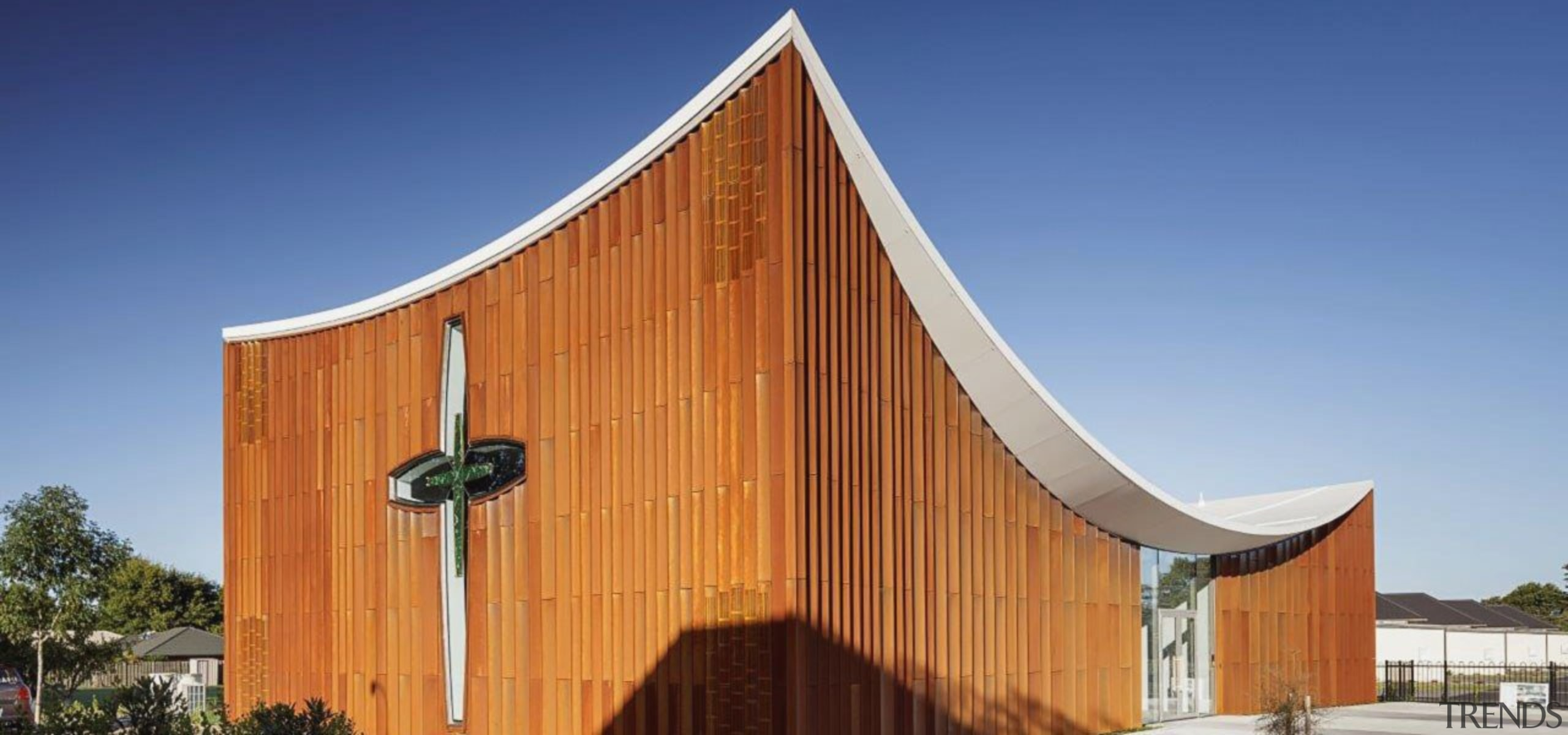 Sisters of Mercy 5 - architecture | building architecture, building, chapel, facade, home, house, place of worship, property, real estate, roof, siding, sky, wood, teal