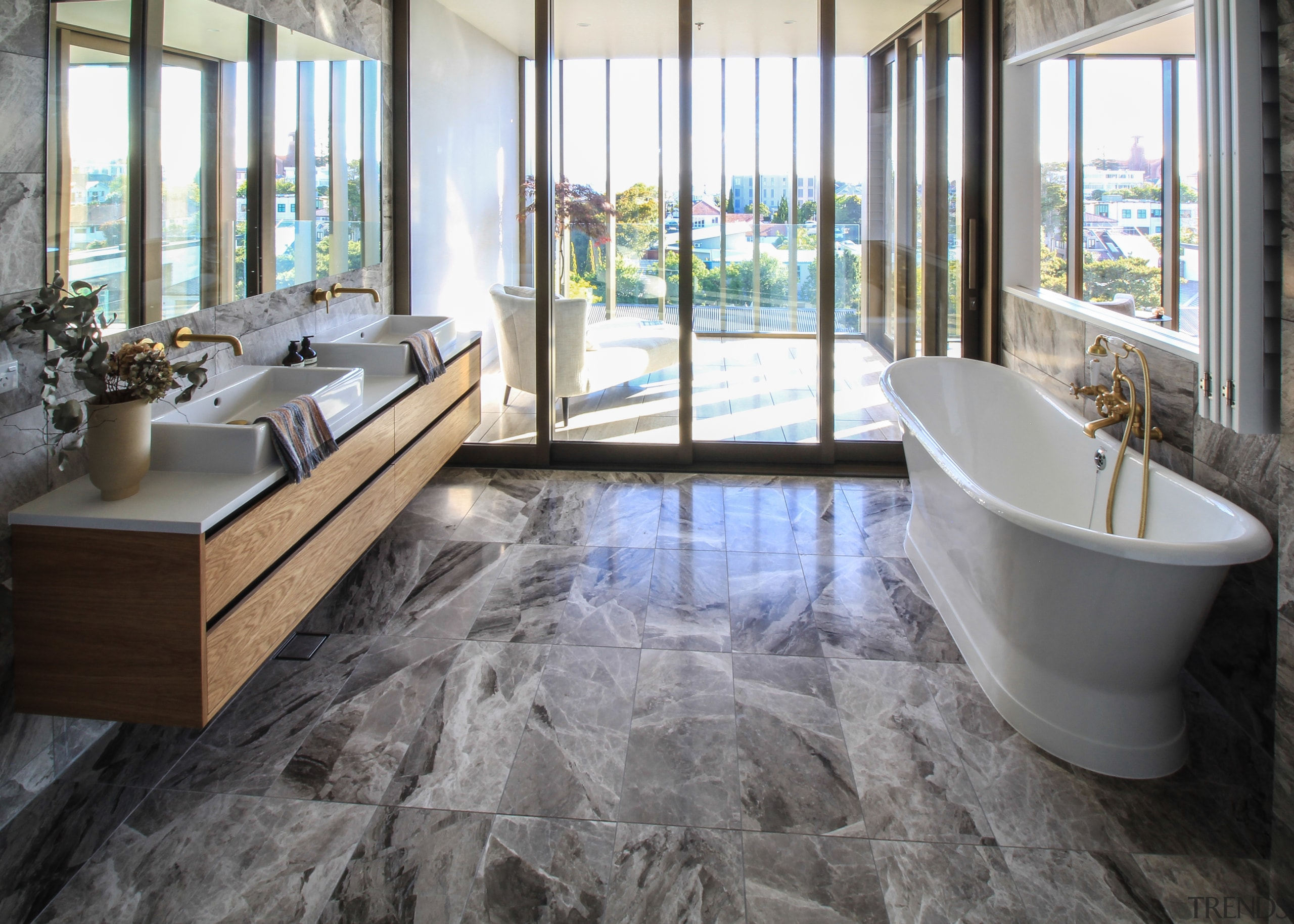 A freestanding tub and stone floors and walls bathroom, flooring, home, interior design, laminate flooring, bathroom, tile, Dominion Constructors