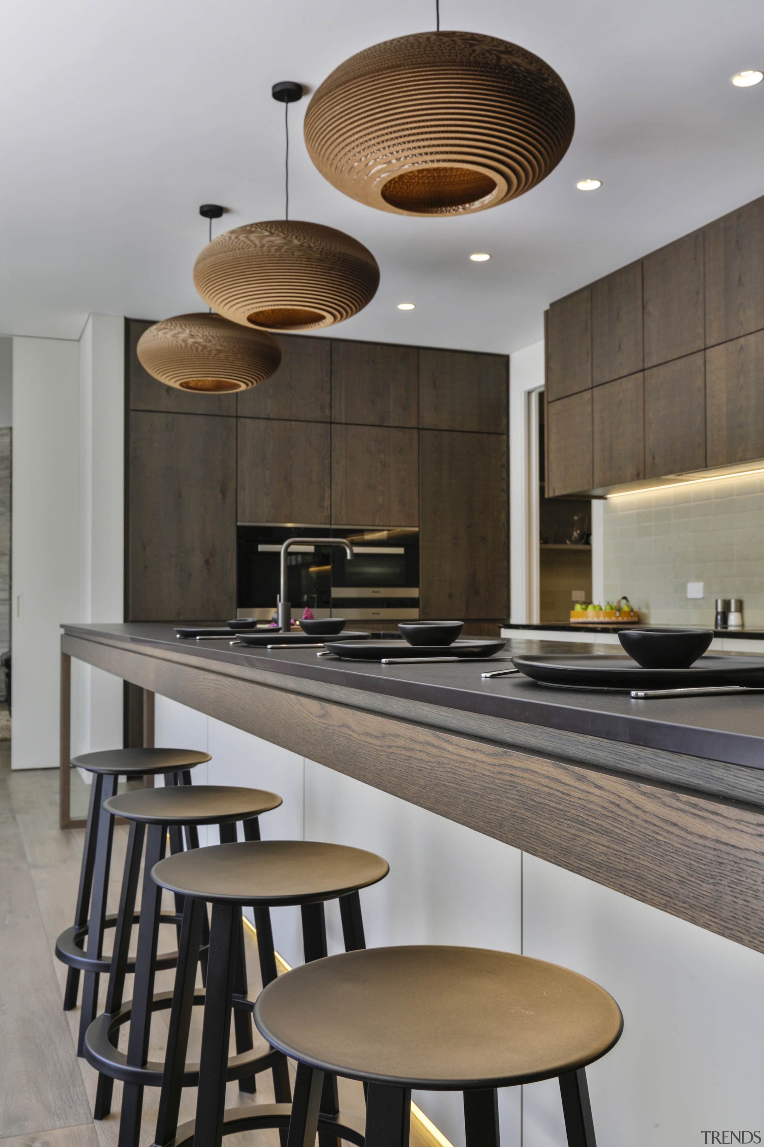 The breakfast bar stools fall into line with