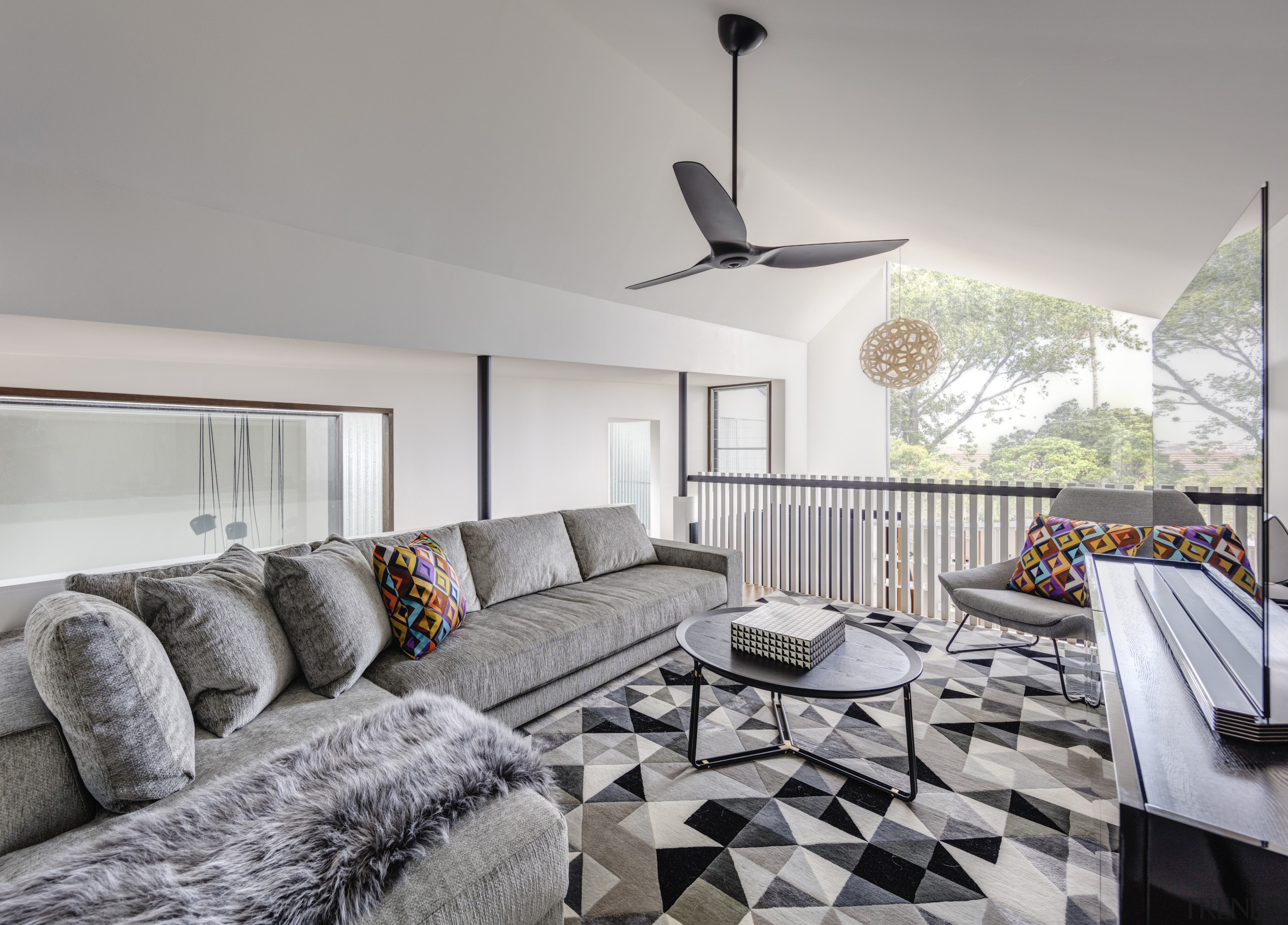 This first floor space in the children's wing architecture, home, house, black-and-white, coffee table, couch, design, floor, flooring, furniture, interior design, living room, CplusC Architectural Workshop